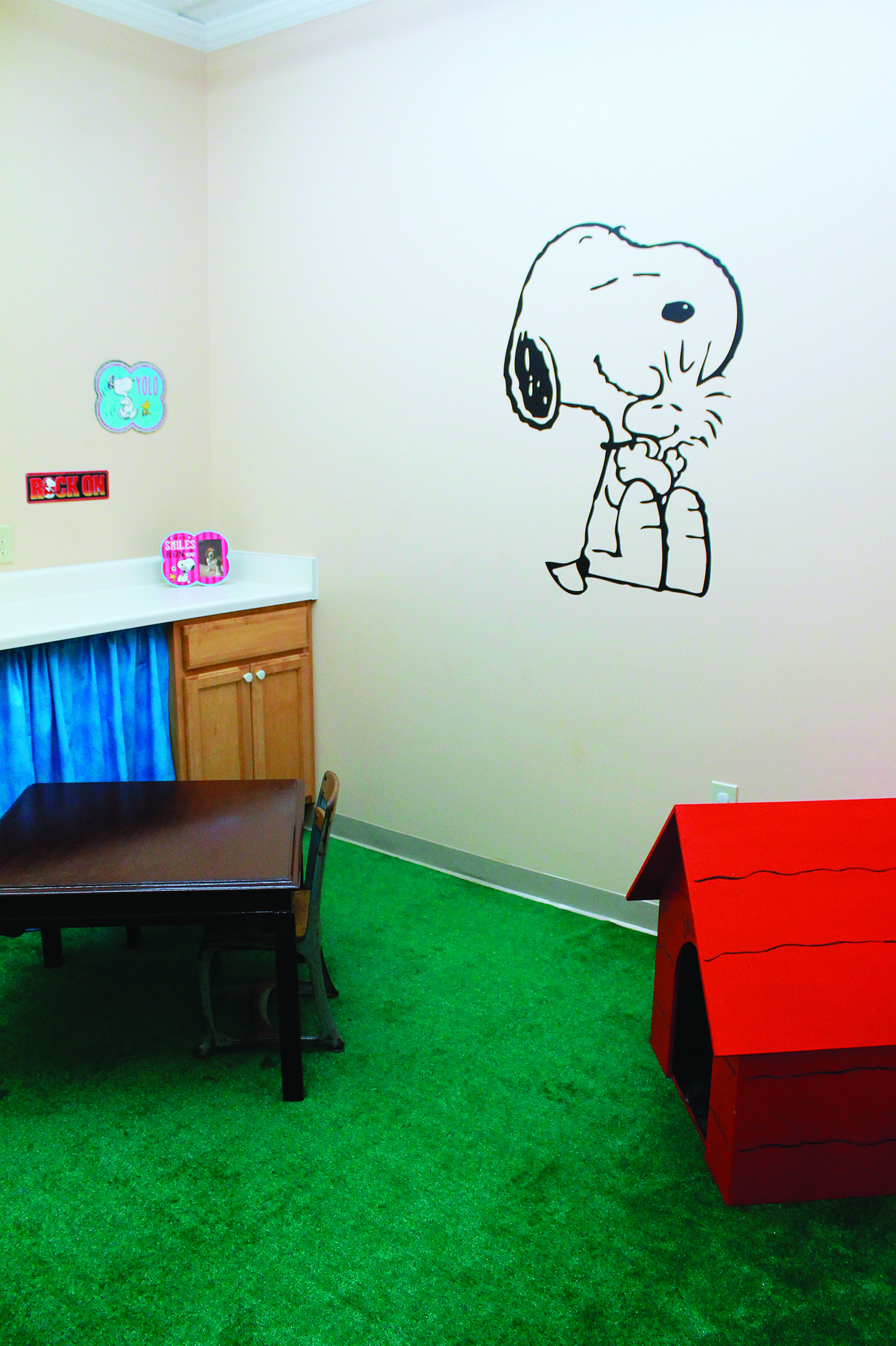 Snoopy makes pediatric patients feel at home in Speech Works of Alabama's new office space.