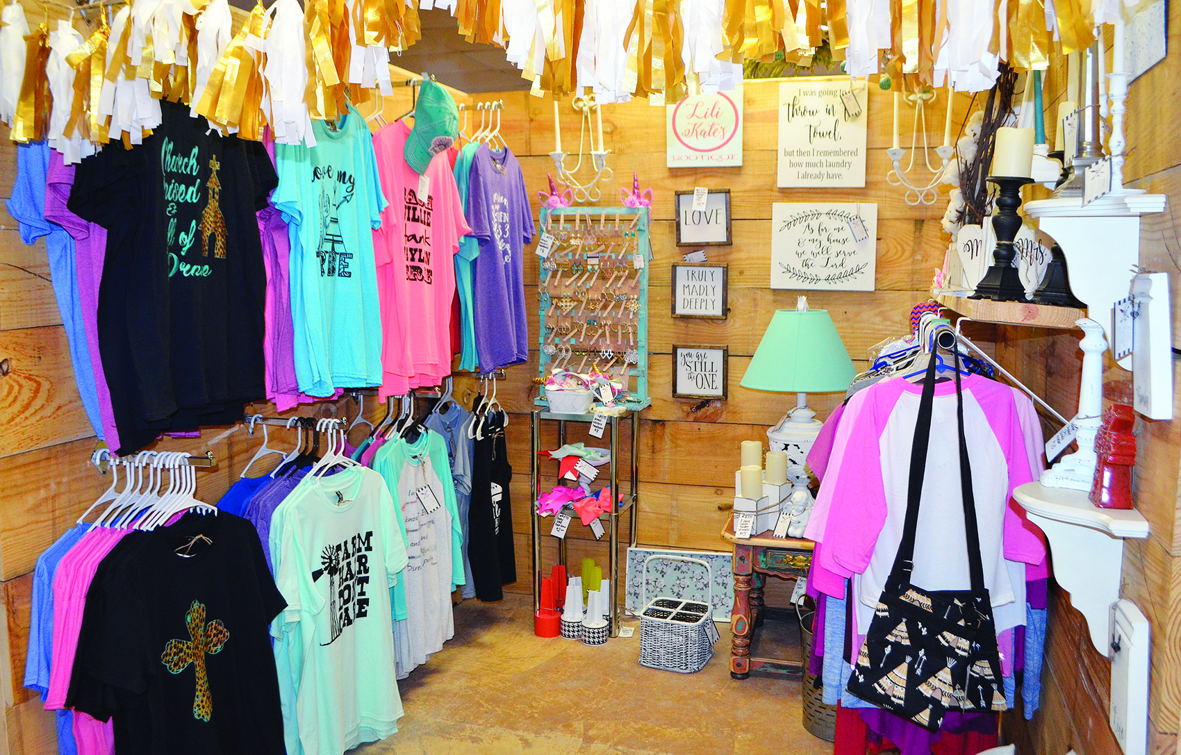 There are a few boutique clothing booths at The Tin Cup Market.