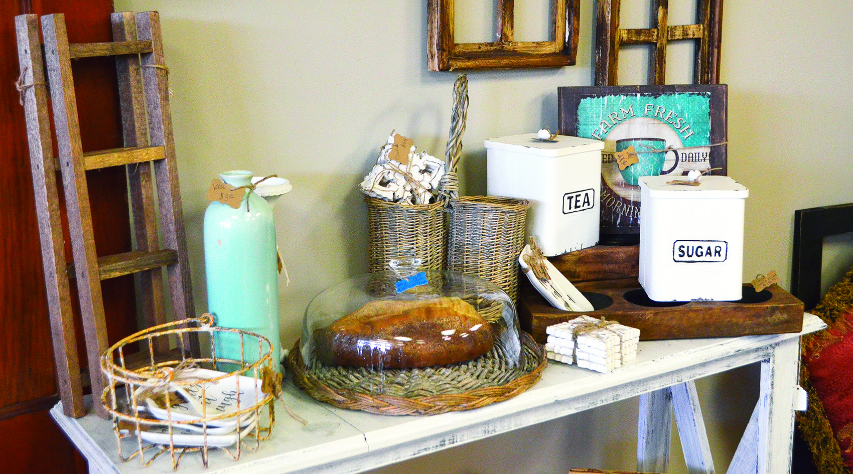 The Tin Cup Market has many unique home decor items for sale.
