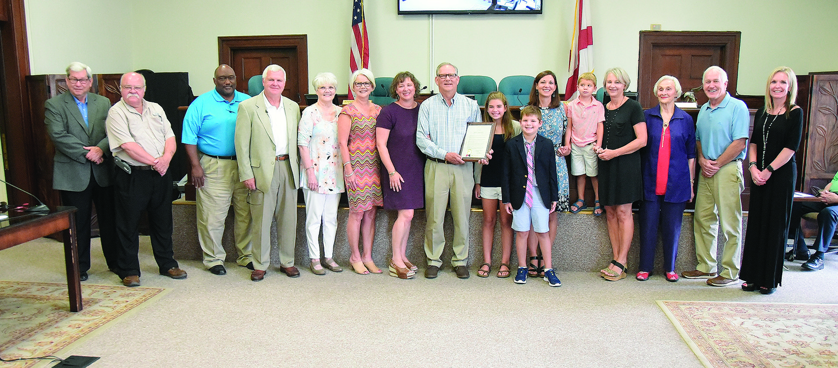 Jasper's Marlin Shubert, center, a member of the gospel group The Inspirations, was honored by Mayor David O'Mary and the Jasper City Council for his representation of the city across the nation when performing in concert. With Shubert are several family members on hand for Tuesday's presentation.