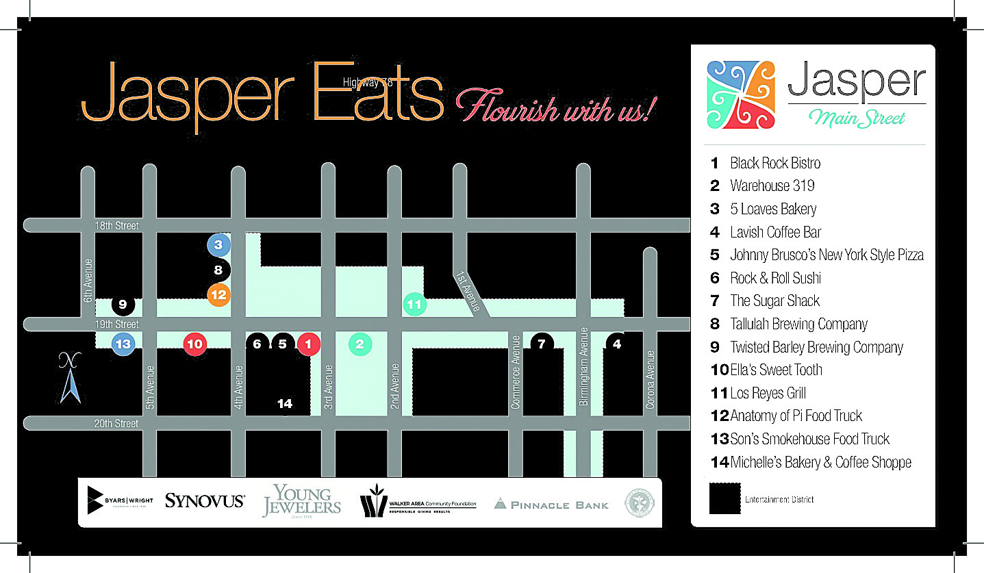 A map of restaurants participating in Jasper Eats and their locations.