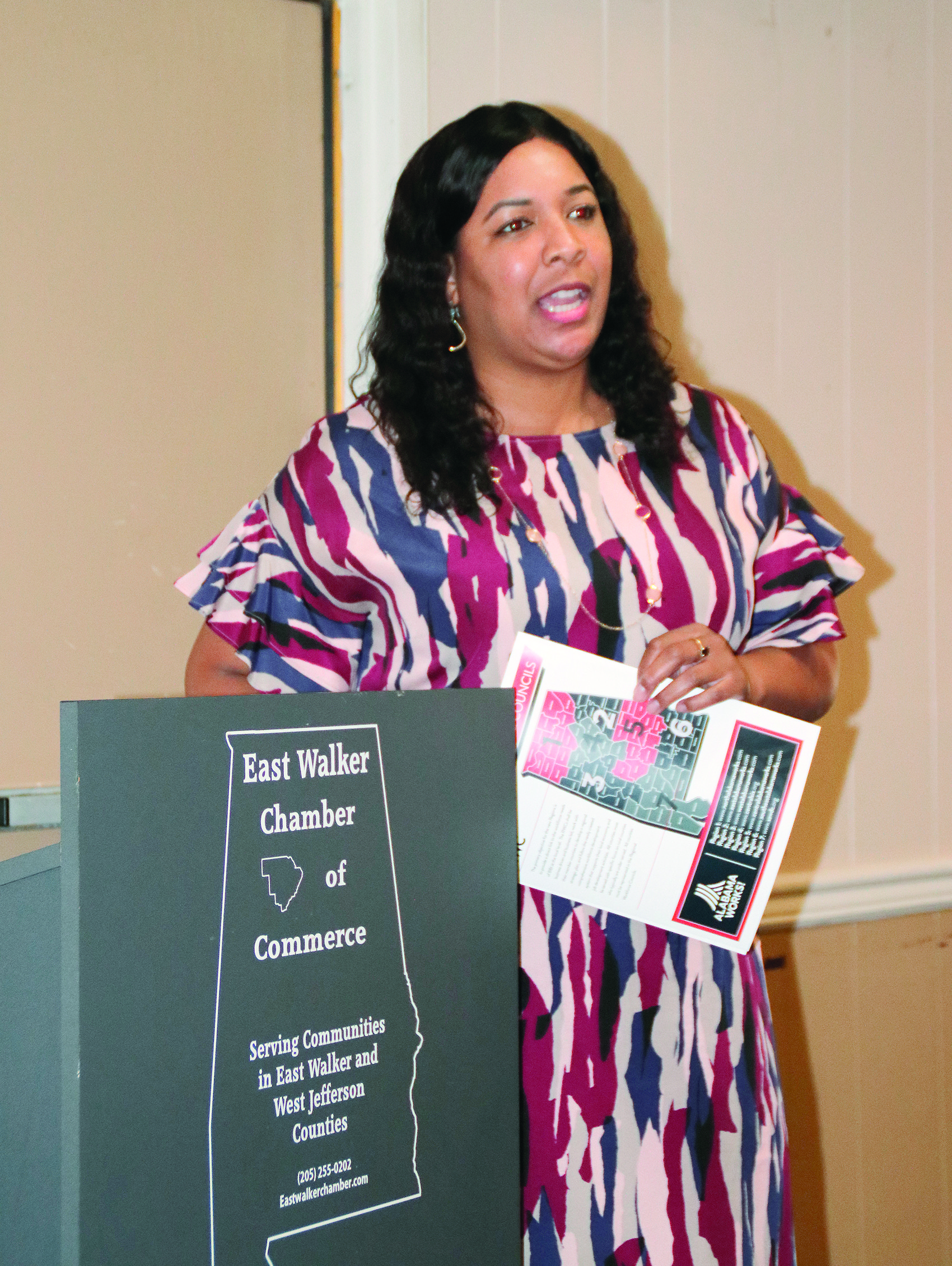 Aniqua Claggett, the executive director of the Central Six Alabama Works initiative, spoke at the East Walker Chamber of Commerce monthly meeting this week.