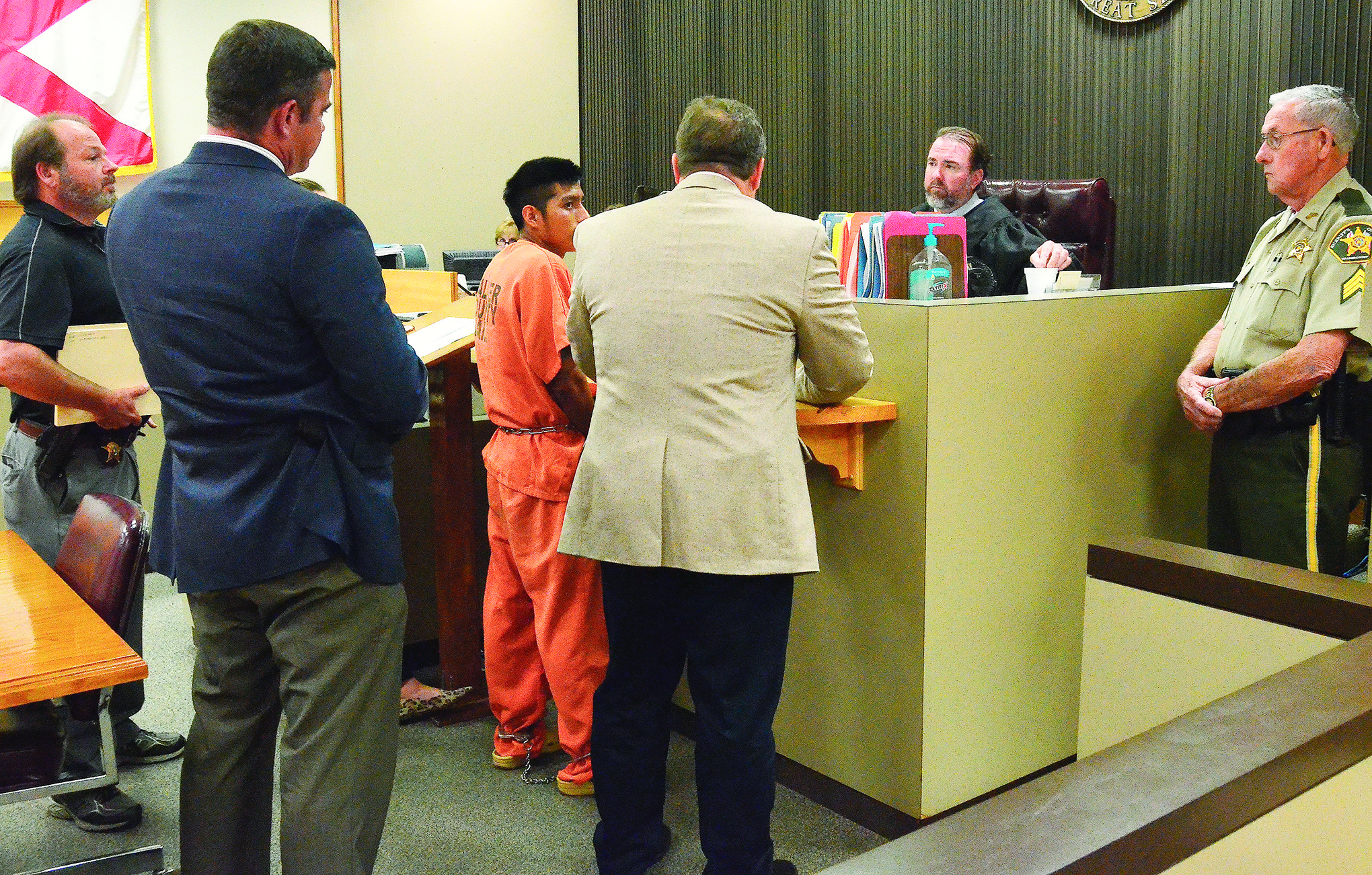 Bernardo Castro-Gabriel, who's charged with an attempted kidnapping Wednesday afternoon at Gamble Park in Jasper, appears before District Court Judge Henry Allred Friday afternoon for a bond hearing.