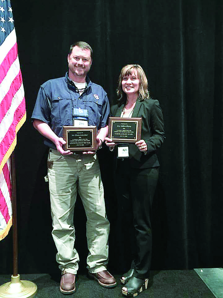Pictured is Chris McCullar and Kelli Adkins of the Walker County Center of Technology, who both received statewide awards for their dedication to career tech education.