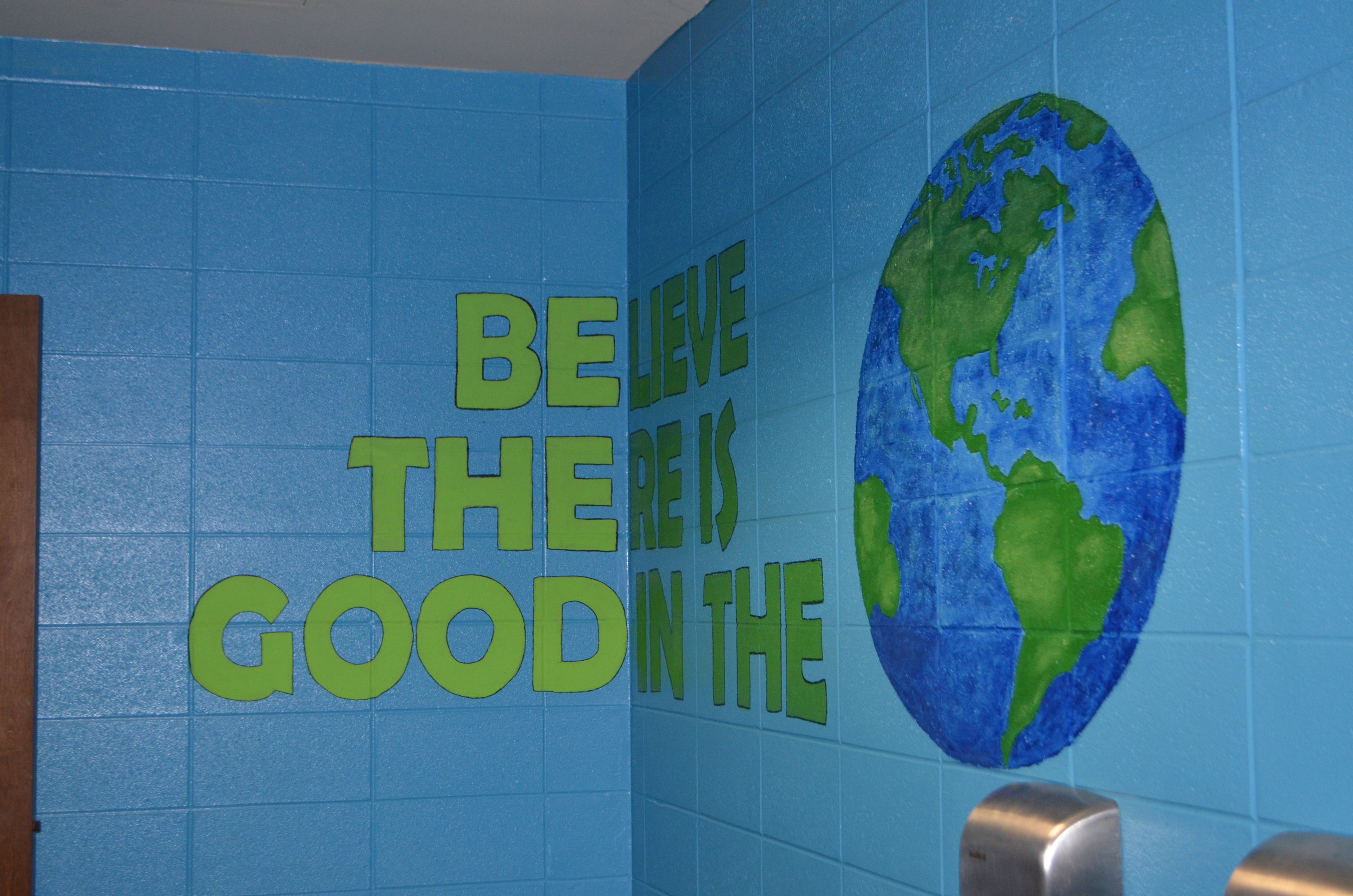 Restrooms at Oakman Middle School were painted over the summer to encourage positivity.