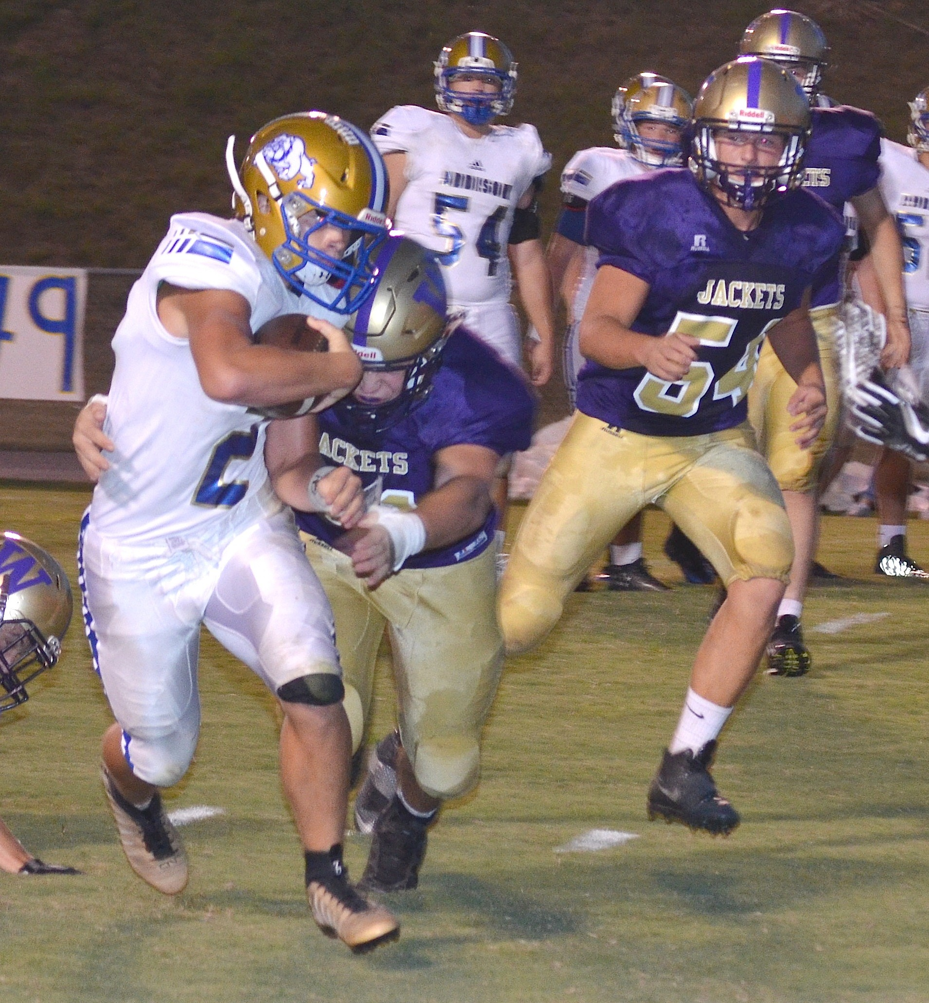 Addison's Zayne Guthrie rushes for a touchdown in Friday night's win over Winston County.