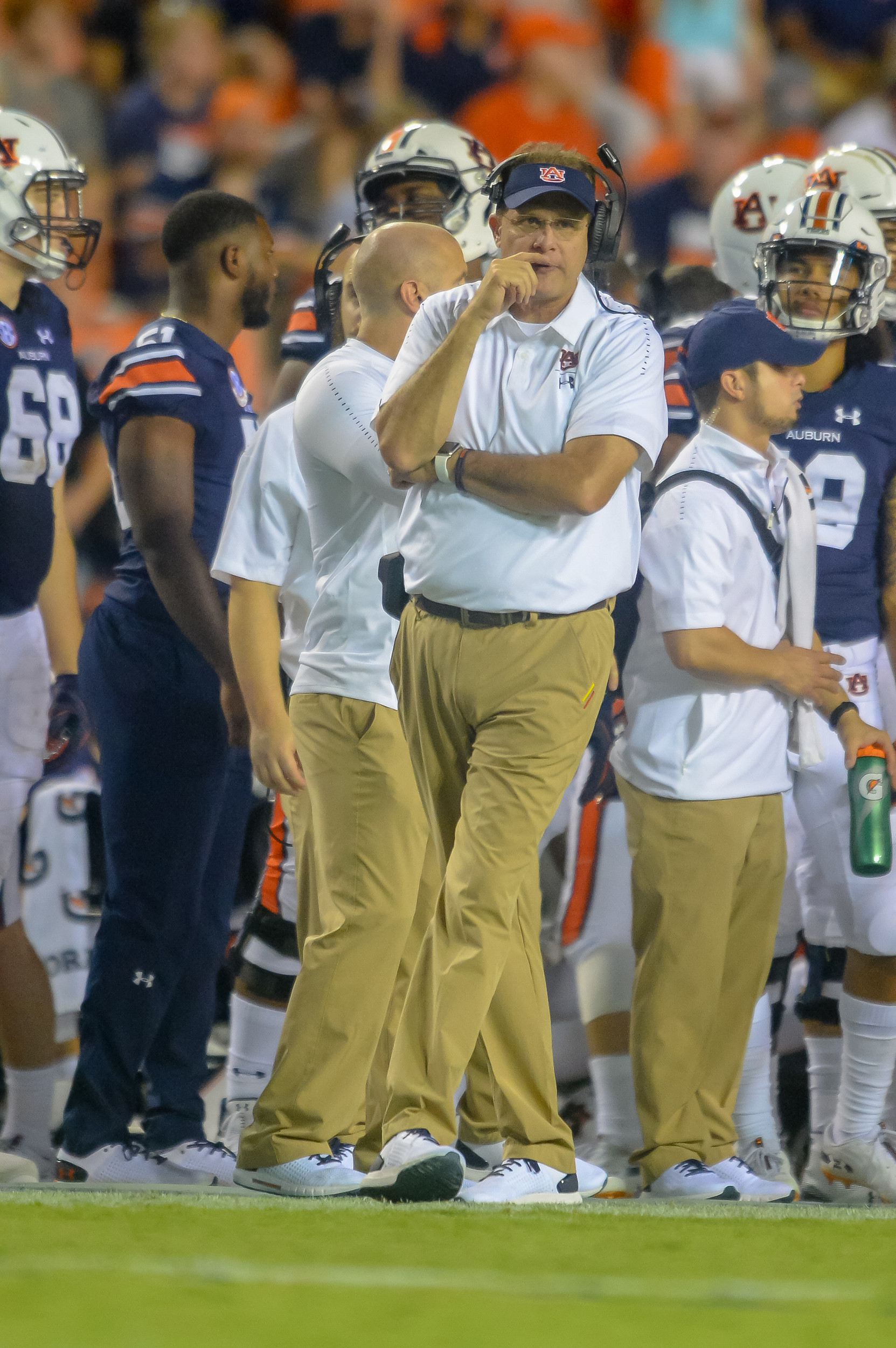 Auburn Tigers head coach Gus Malzahn looks on during the second half of Saturday's game, at Jordan Hare Stadium in Auburn Atlanta. (Contributed by Jeff Johnsey)