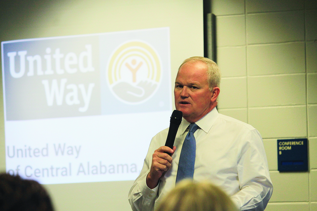 Alan Register, chairman of the 2018 United Way of Central Alabama campaign, speaks at a kickoff luncheon in Jasper on Thursday. The county's fundraising goal is $1,080,000.