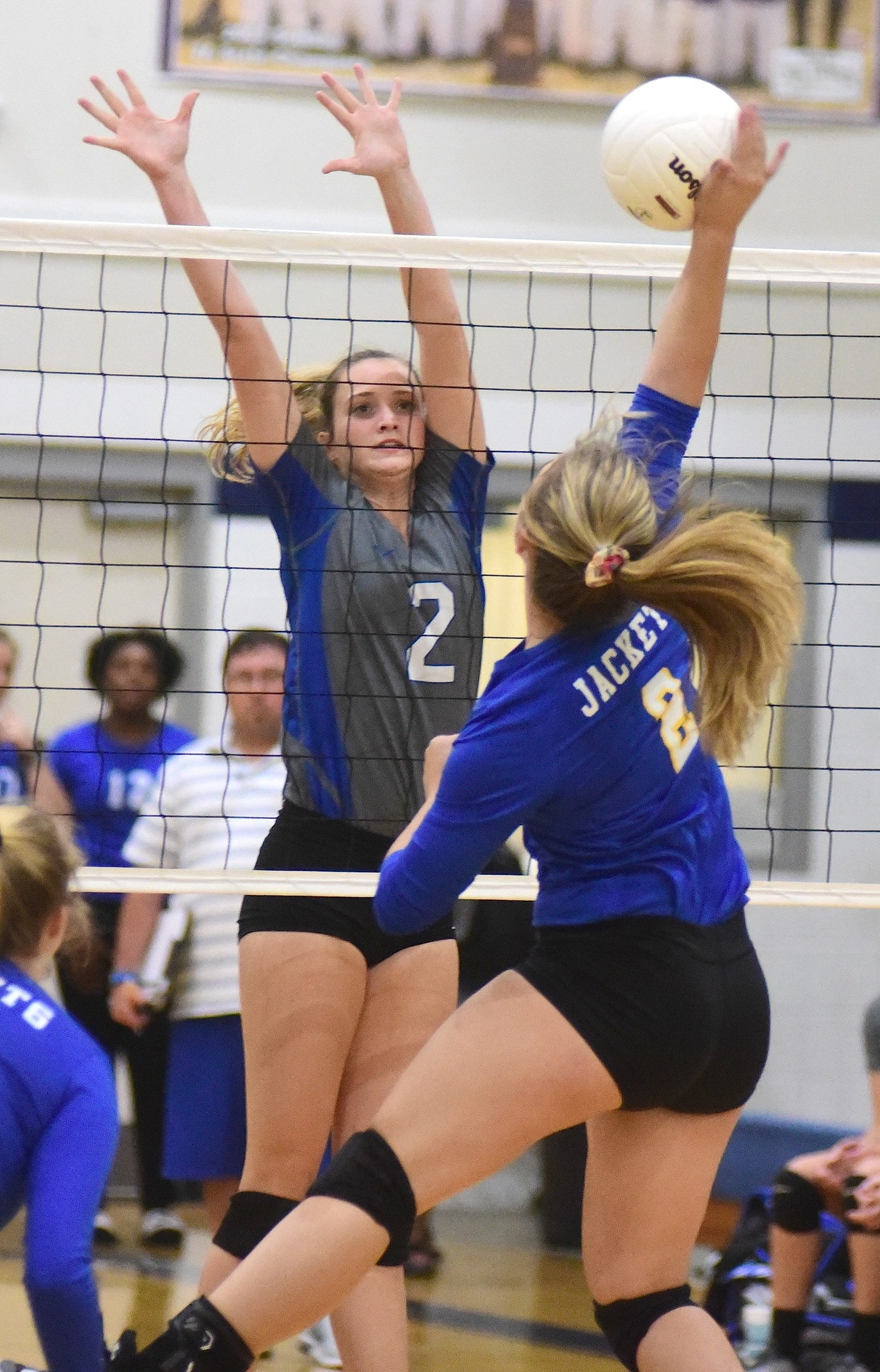 Carbon Hill's Grayson Evans (2) goes up for a block of Curry's Mairabella Nail (8) during their match in the Walker County Volleyball Tournament at Oakman High School on Thursday. Carbon Hill went 2-0 on the day. Matches resume at 9 a.m. on Saturday.