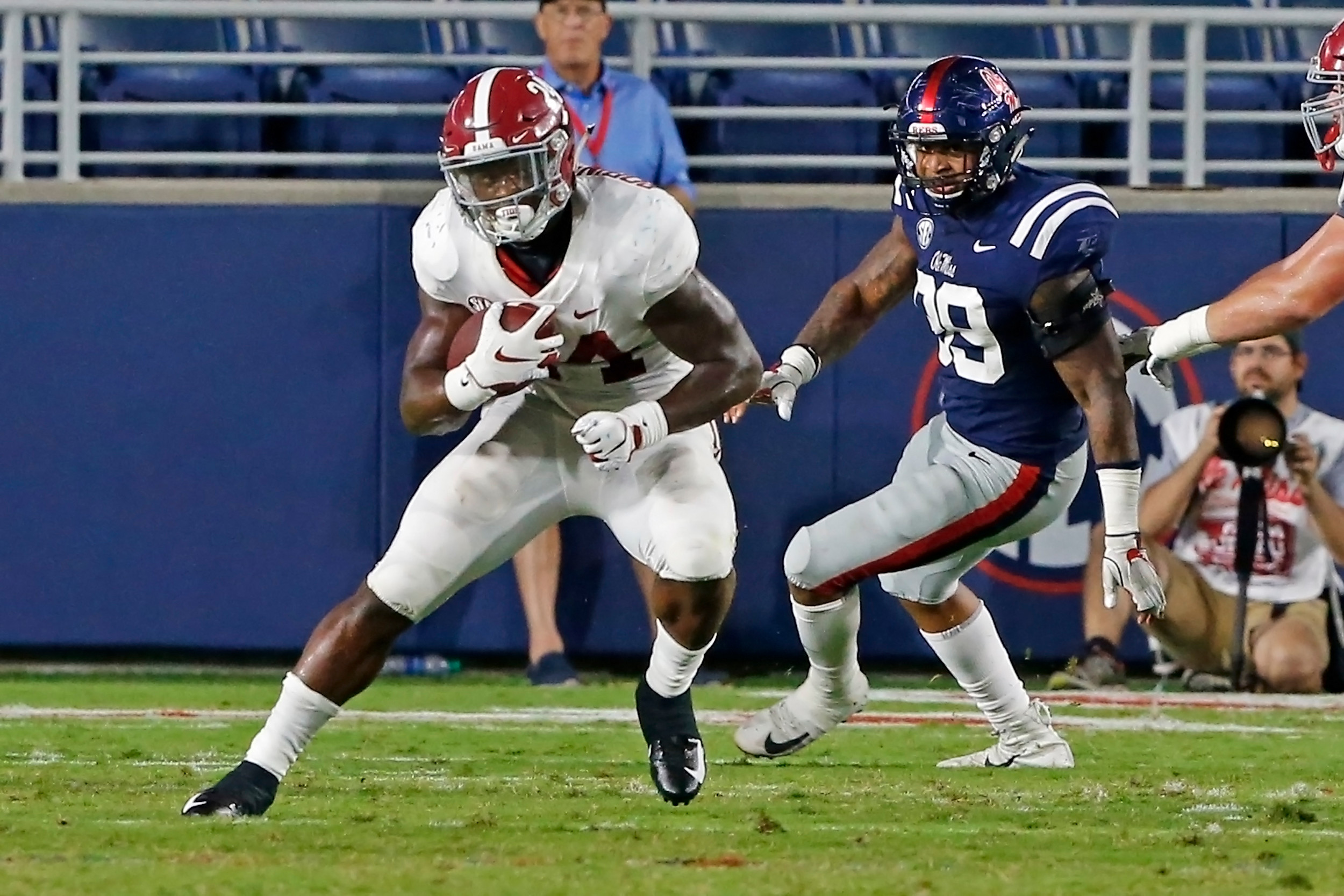 Alabama Crimson Tide running back Brian Robinson Jr. (24) rushes during the game between the University of Alabama and Ole Miss at Vaught-Hemingway Stadium. Jason Clark / Daily Mountain Eagle