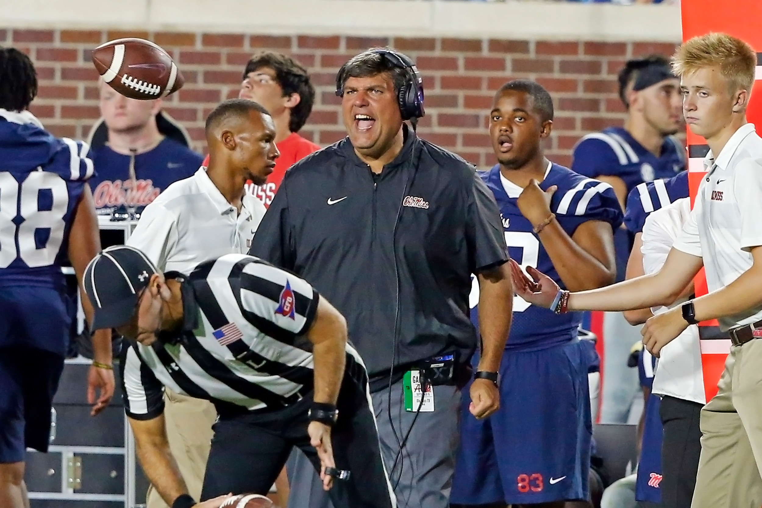 Ole Miss head coach Matt Luke during the game between the University of Alabama and Ole Miss at Vaught-Hemingway Stadium. Jason Clark / Daily Mountain Eagle