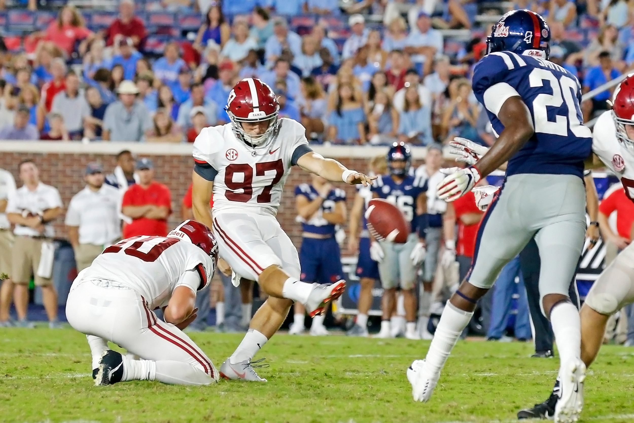Alabama Crimson Tide place kicker Joseph Bulovas (97) kicks a 43 yard field goal in the 3rd quarter of the game between the University of Alabama and Ole Miss at Vaught-Hemingway Stadium. Jason Clark / Daily Mountain Eagle
