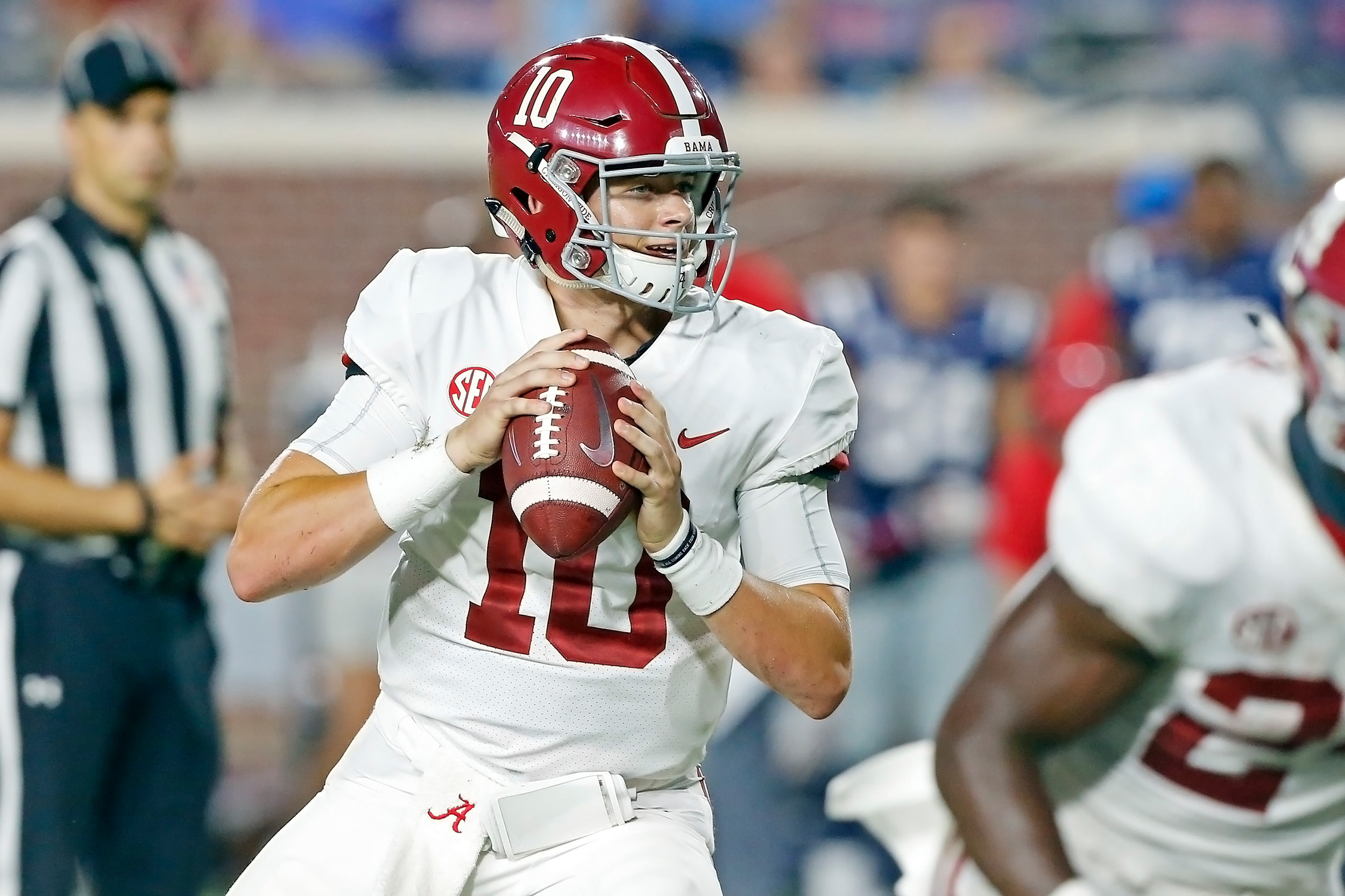 Alabama Crimson Tide quarterback Mac Jones (10)looks to pass during the game between the University of Alabama and Ole Miss at Vaught-Hemingway Stadium. Jason Clark / Daily Mountain Eagle