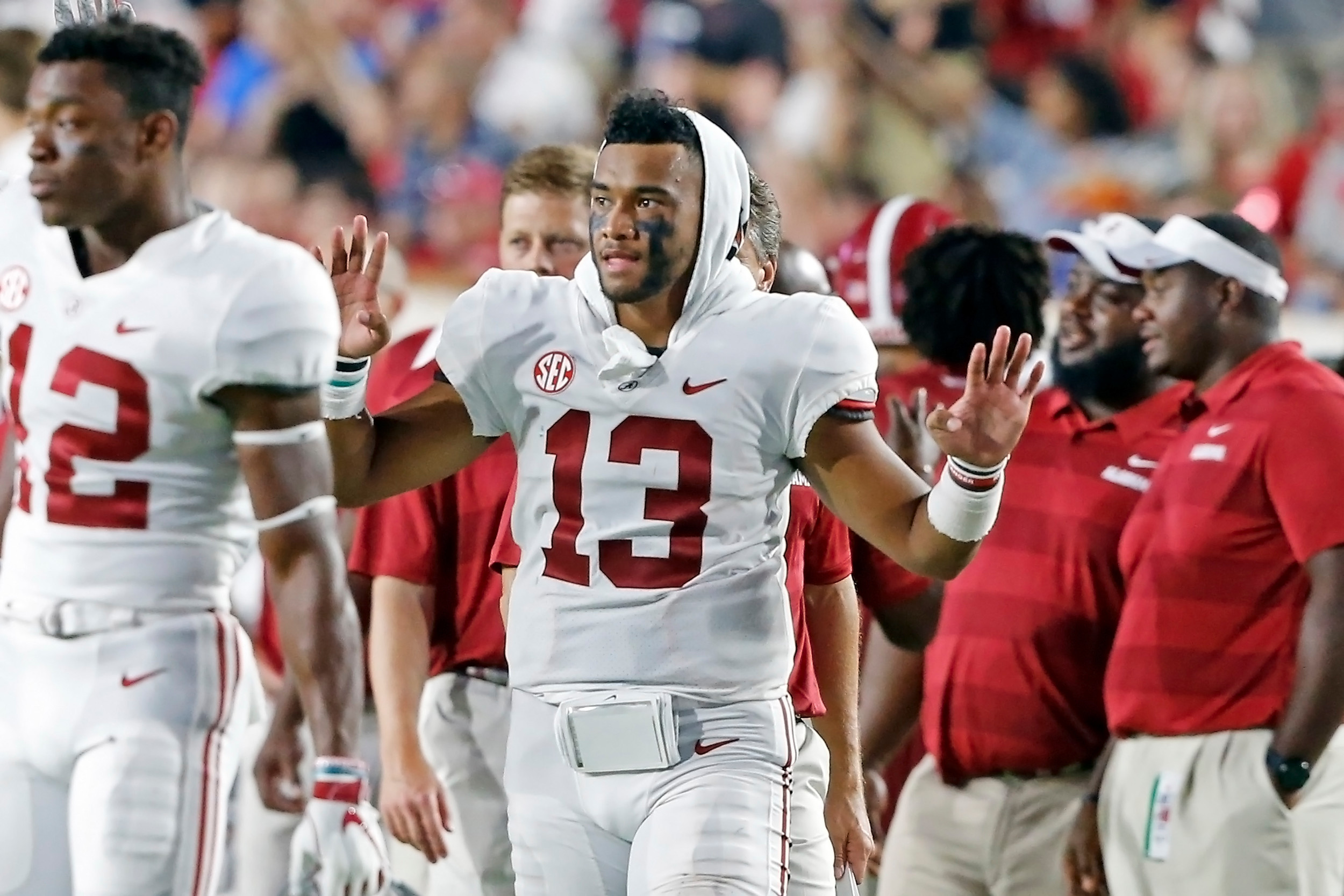 Alabama Crimson Tide quarterback Tua Tagovailoa (13) signals for the fourth quartervduring the game between the University of Alabama and Ole Miss at Vaught-Hemingway Stadium. Jason Clark / Daily Mountain Eagle