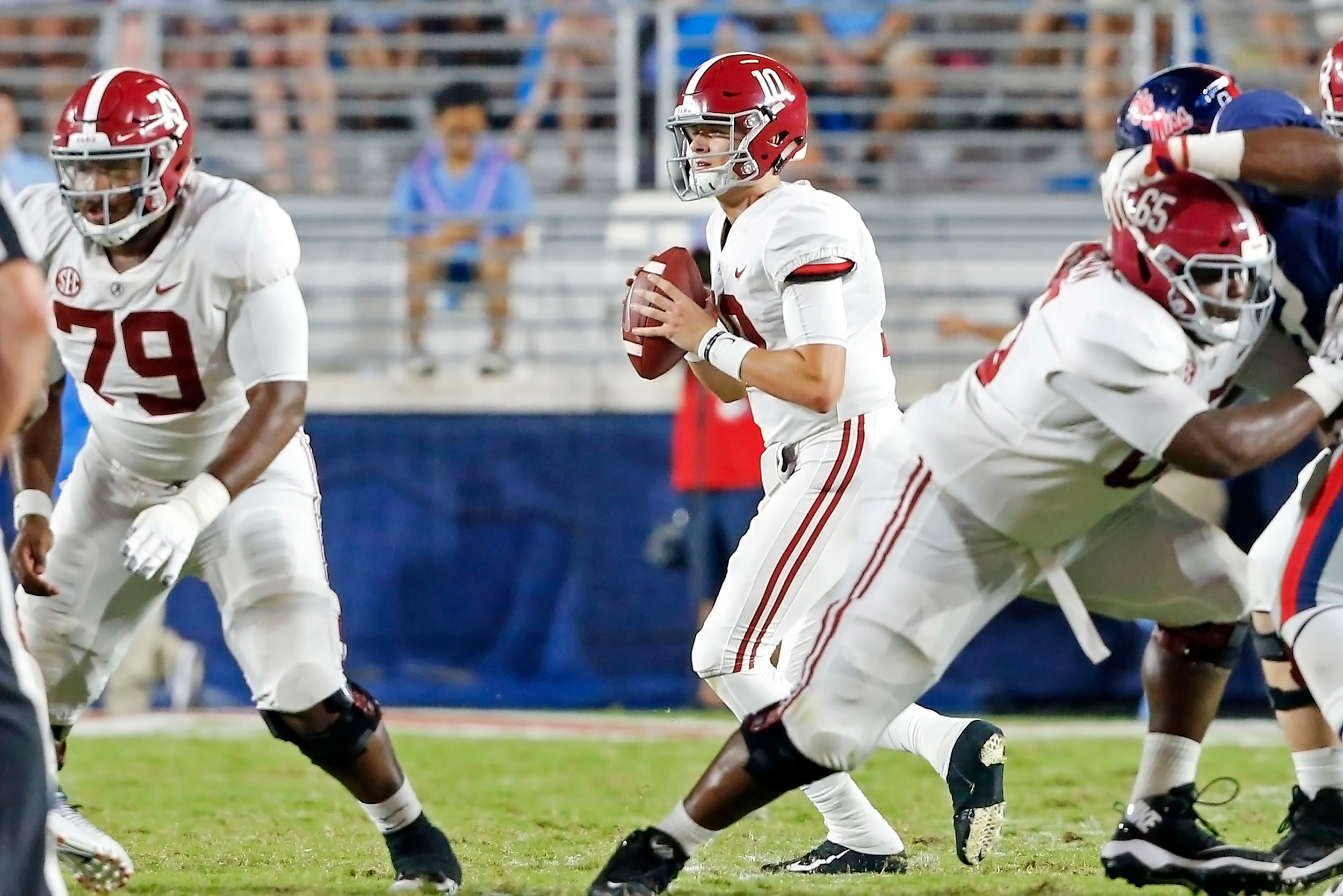 Alabama Crimson Tide quarterback Mac Jones (10) drops back to pass during the game between the University of Alabama and Ole Miss at Vaught-Hemingway Stadium. Jason Clark / Daily Mountain Eagle