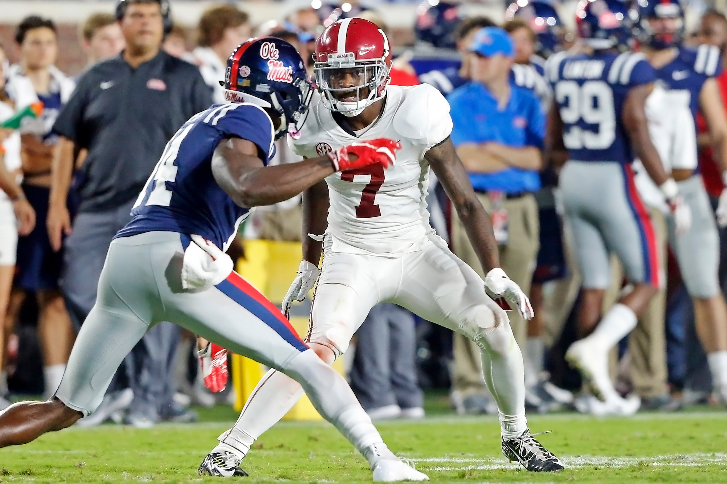 Alabama Crimson Tide defensive back Trevon Diggs (7) during the game between the University of Alabama and Ole Miss at Vaught-Hemingway Stadium. Jason Clark / Daily Mountain Eagle