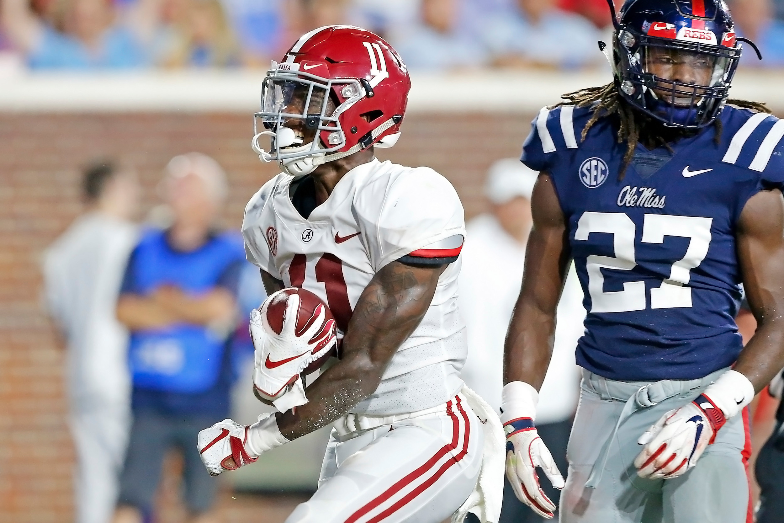 Alabama Crimson Tide wide receiver Henry Ruggs III (11) celebrates after a touchdown during the game between the University of Alabama and Ole Miss at Vaught-Hemingway Stadium. Jason Clark / Daily Mountain Eagle