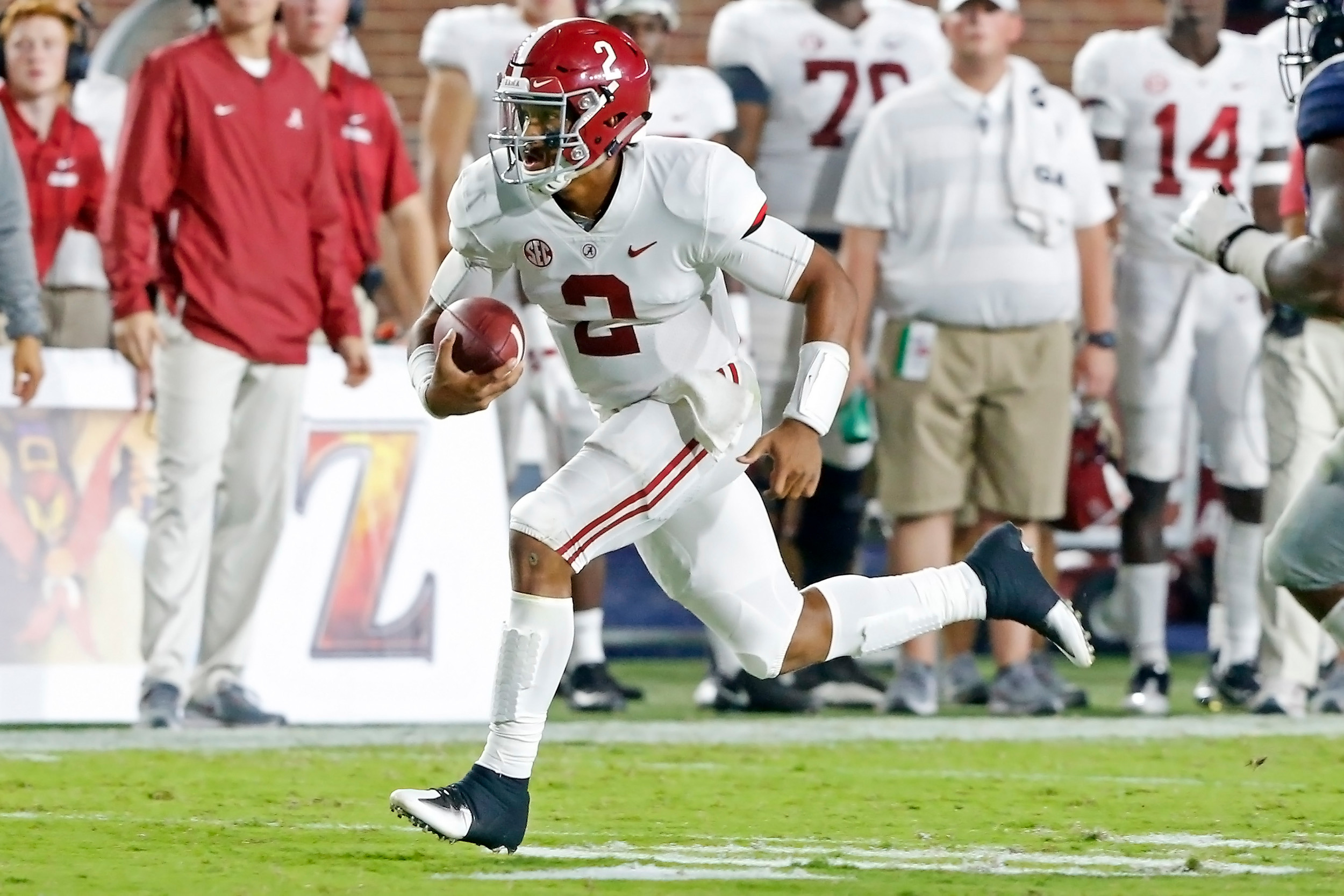 Alabama Crimson Tide quarterback Jalen Hurts (2) rushes for a first down during the game between the University of Alabama and Ole Miss at Vaught-Hemingway Stadium. Jason Clark / Daily Mountain Eagle