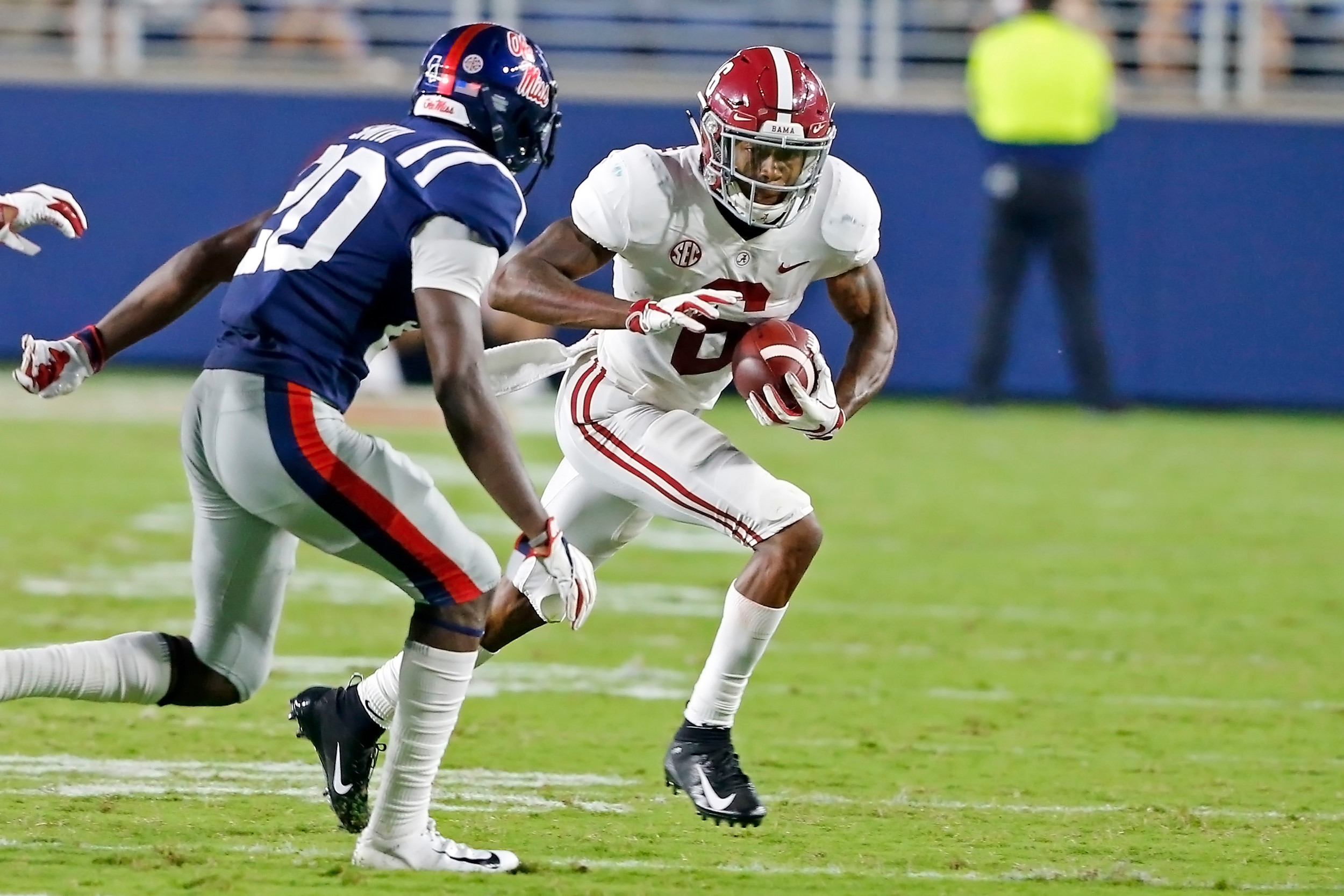 Alabama Crimson Tide wide receiver DeVonta Smith (6) runs after a reception during the game between the University of Alabama and Ole Miss at Vaught-Hemingway Stadium. Jason Clark / Daily Mountain Eagle