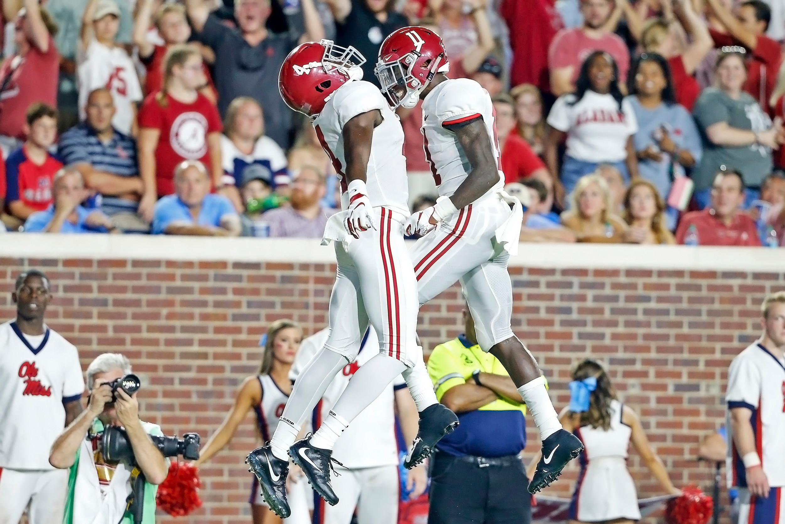 Alabama Crimson Tide wide receivers Jerry Jeudy (4) and Henry Ruggs III (11) celebrate after a touchdown during the game between the University of Alabama and Ole Miss at Vaught-Hemingway Stadium. Jason Clark / Daily Mountain Eagle