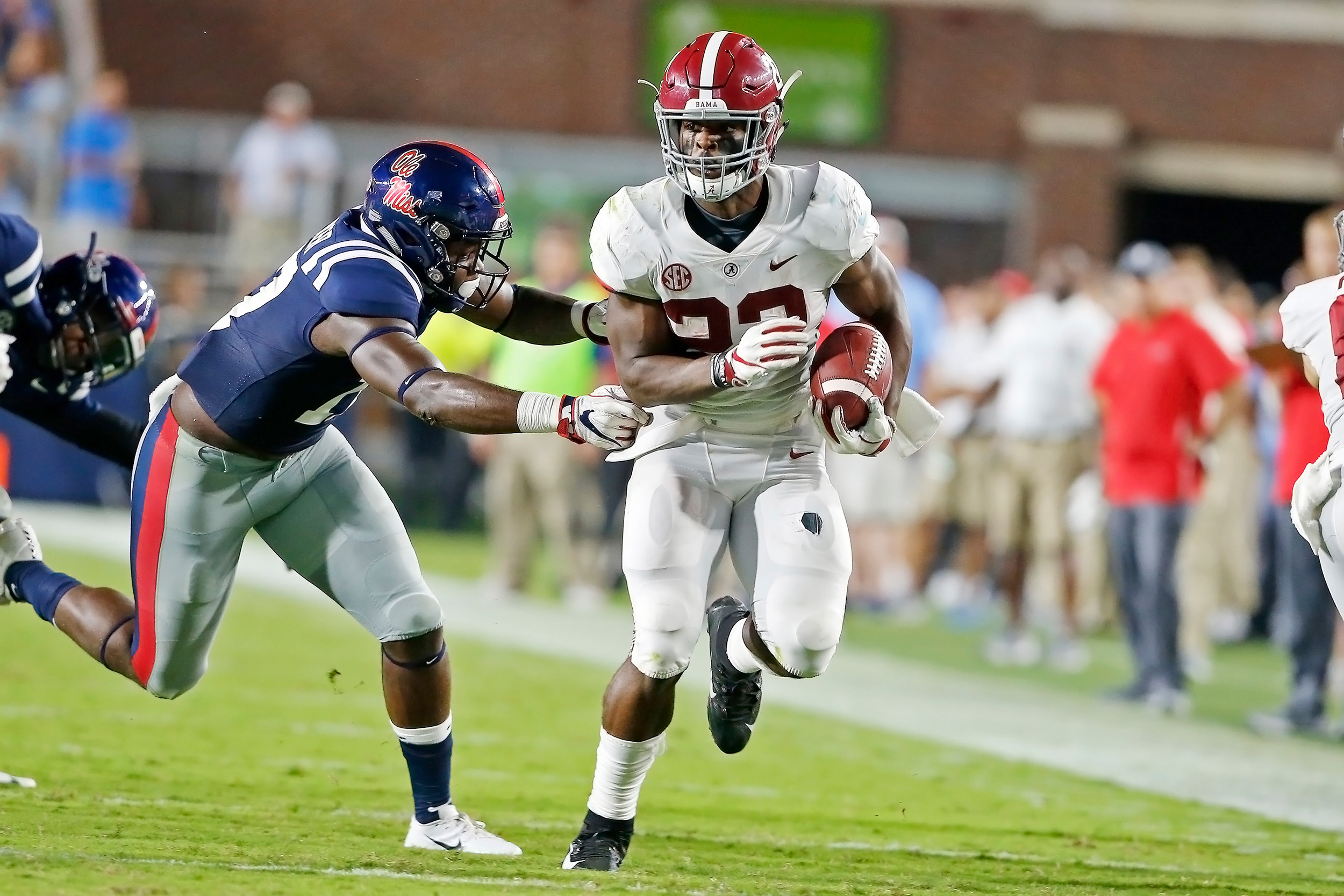 Alabama Crimson Tide running back Najee Harris (22) rushes for a big gain during the game between the University of Alabama and Ole Miss at Vaught-Hemingway Stadium. Jason Clark / Daily Mountain Eagle