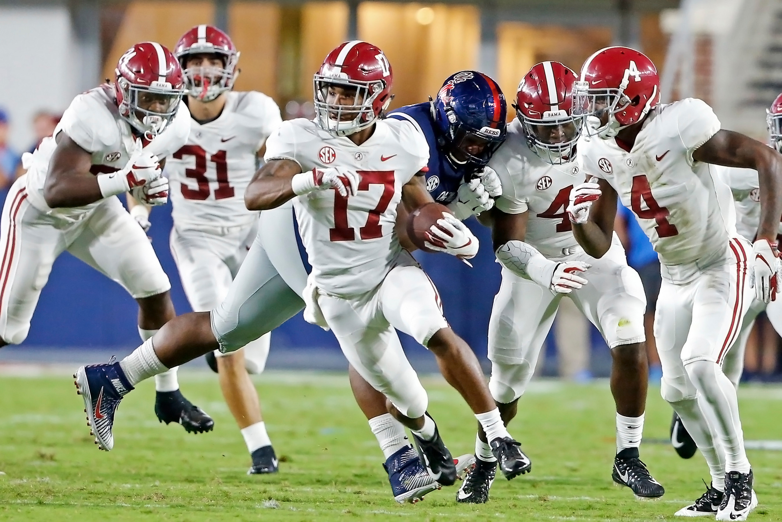 Alabama Crimson Tide wide receiver Jaylen Waddle (17) with a big put return during the game between the University of Alabama and Ole Miss at Vaught-Hemingway Stadium. Jason Clark / Daily Mountain Eagle