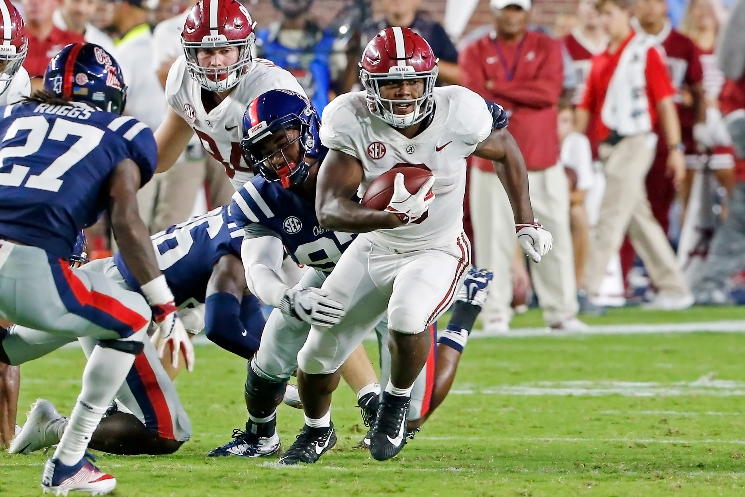 Alabama Crimson Tide running back Josh Jacobs (8) rushes during the game between the University of Alabama and Ole Miss at Vaught-Hemingway Stadium. Jason Clark / Daily Mountain Eagle