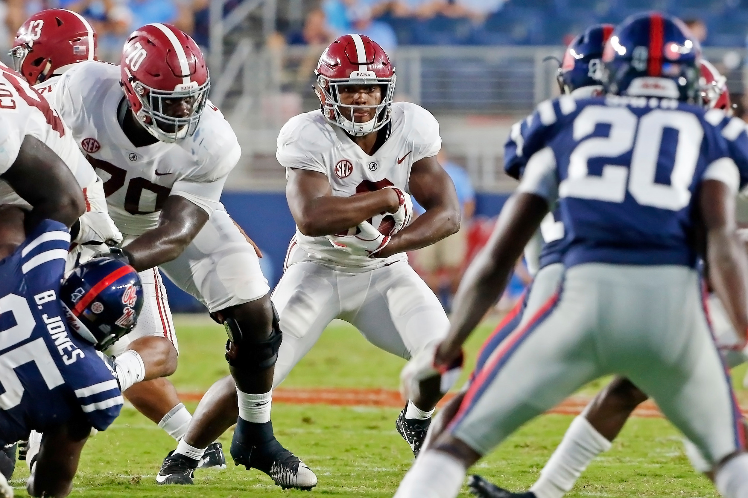 Alabama Crimson Tide running back Josh Jacobs (8) during the game between the University of Alabama and Ole Miss at Vaught-Hemingway Stadium. Jason Clark / Daily Mountain Eagle