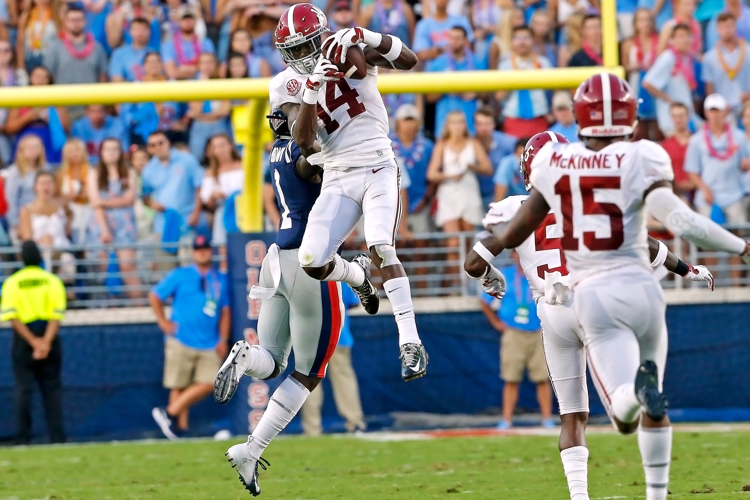 Alabama Crimson Tide defensive back Deionte Thompson (14) picks off a pass during the game between the University of Alabama and Ole Miss at Vaught-Hemingway Stadium. Jason Clark / Daily Mountain Eagle