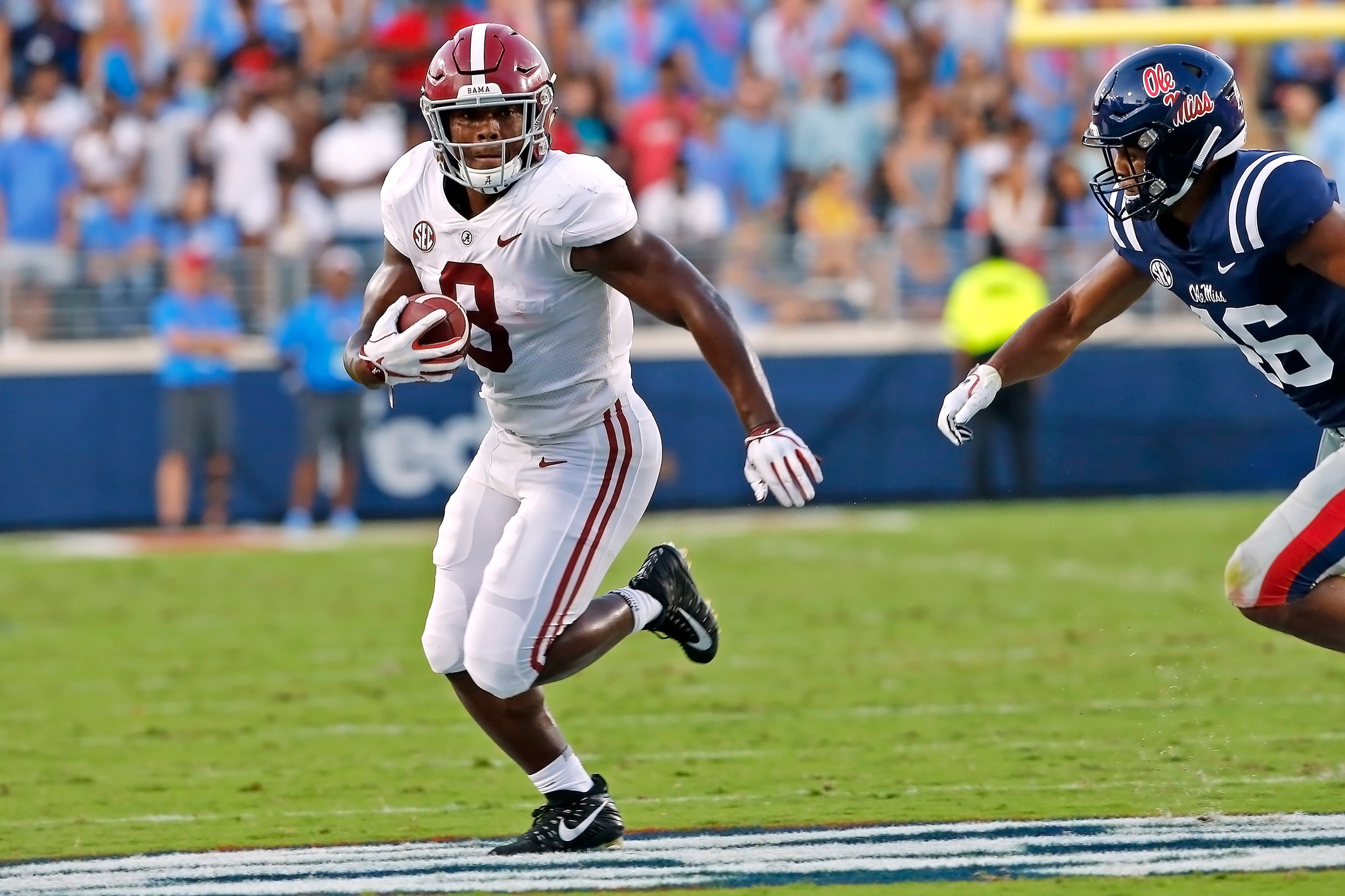 Alabama Crimson Tide running back Josh Jacobs (8) rushes for a large gain during the game between the University of Alabama and Ole Miss at Vaught-Hemingway Stadium. Jason Clark / Daily Mountain Eagle