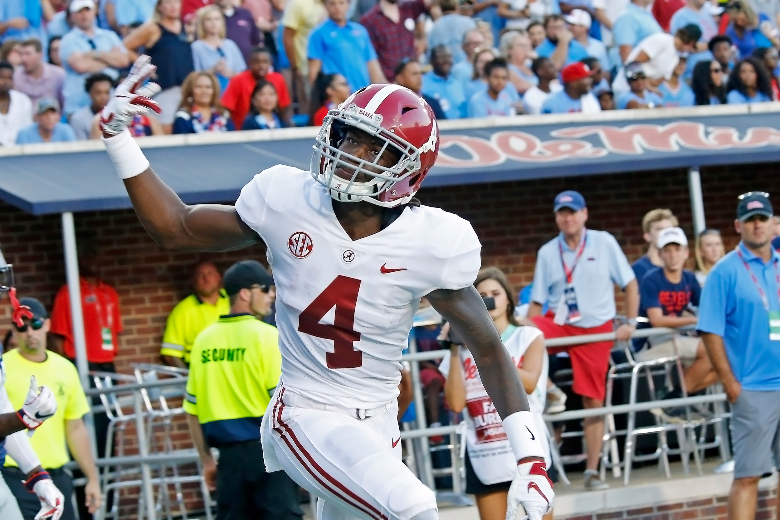 Alabama Crimson Tide wide receiver Jerry Jeudy (4) gestures to the crowd after scoring a touchdown during the game between the University of Alabama and Ole Miss at Vaught-Hemingway Stadium. Jason Clark / Daily Mountain Eagle