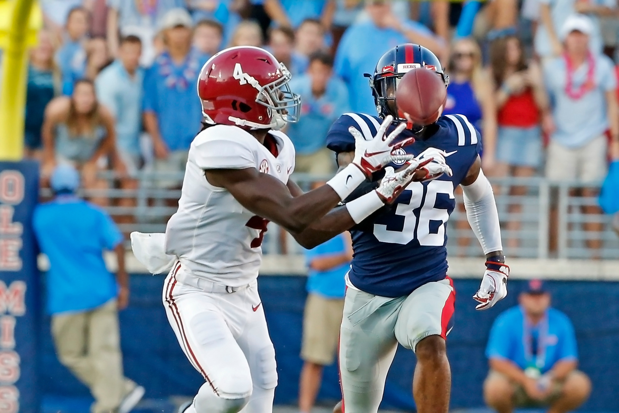 Alabama Crimson Tide wide receiver Jerry Jeudy (4) hauls in a pass during the game between the University of Alabama and Ole Miss at Vaught-Hemingway Stadium. Jason Clark / Daily Mountain Eagle