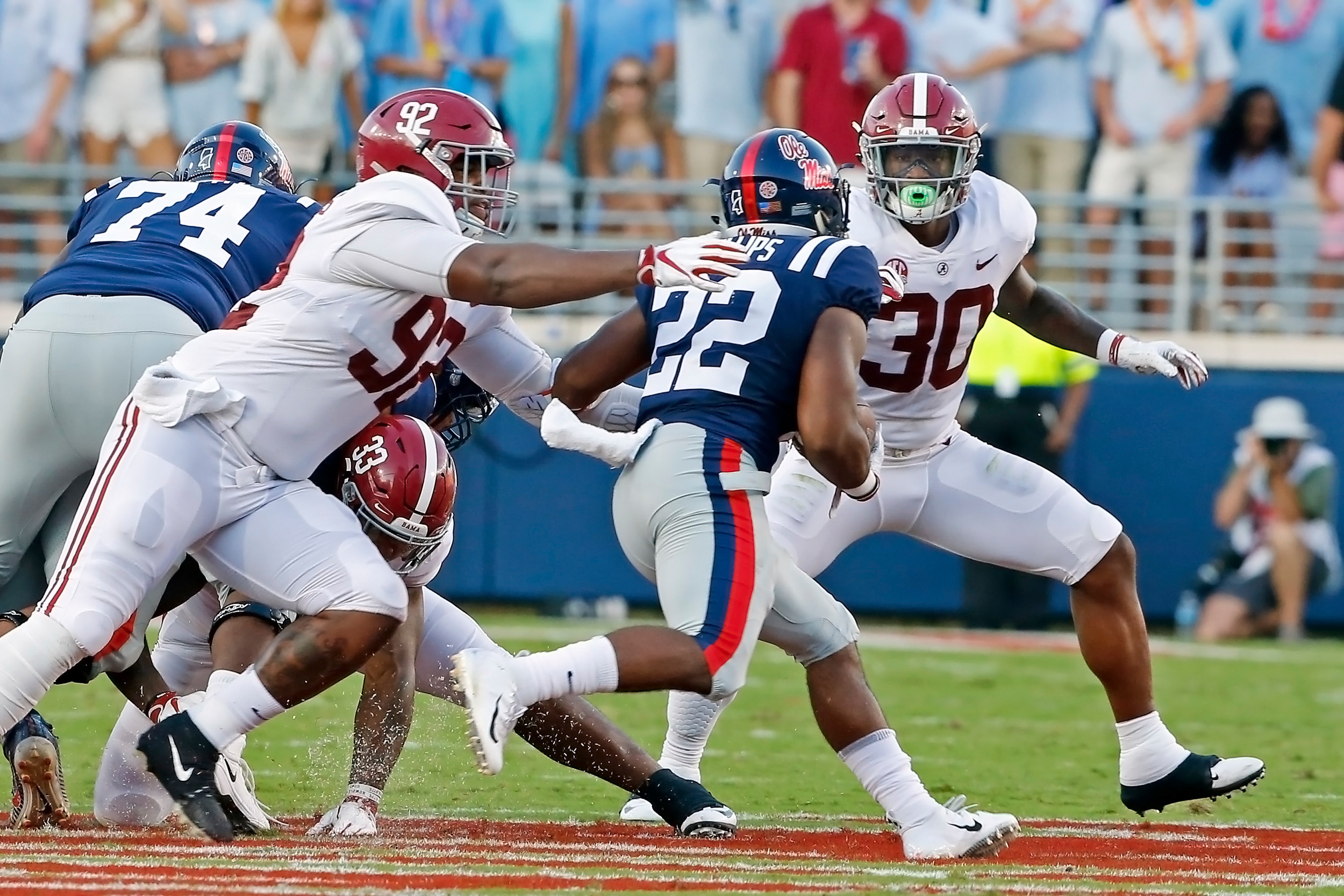 Alabama Crimson Tide defensive lineman Quinnen Williams (92) chases down Mississippi Rebels' running back Scottie Phillips (22) during the game between the University of Alabama and Ole Miss at Vaught-Hemingway Stadium. Jason Clark / Daily Mountain Eagle