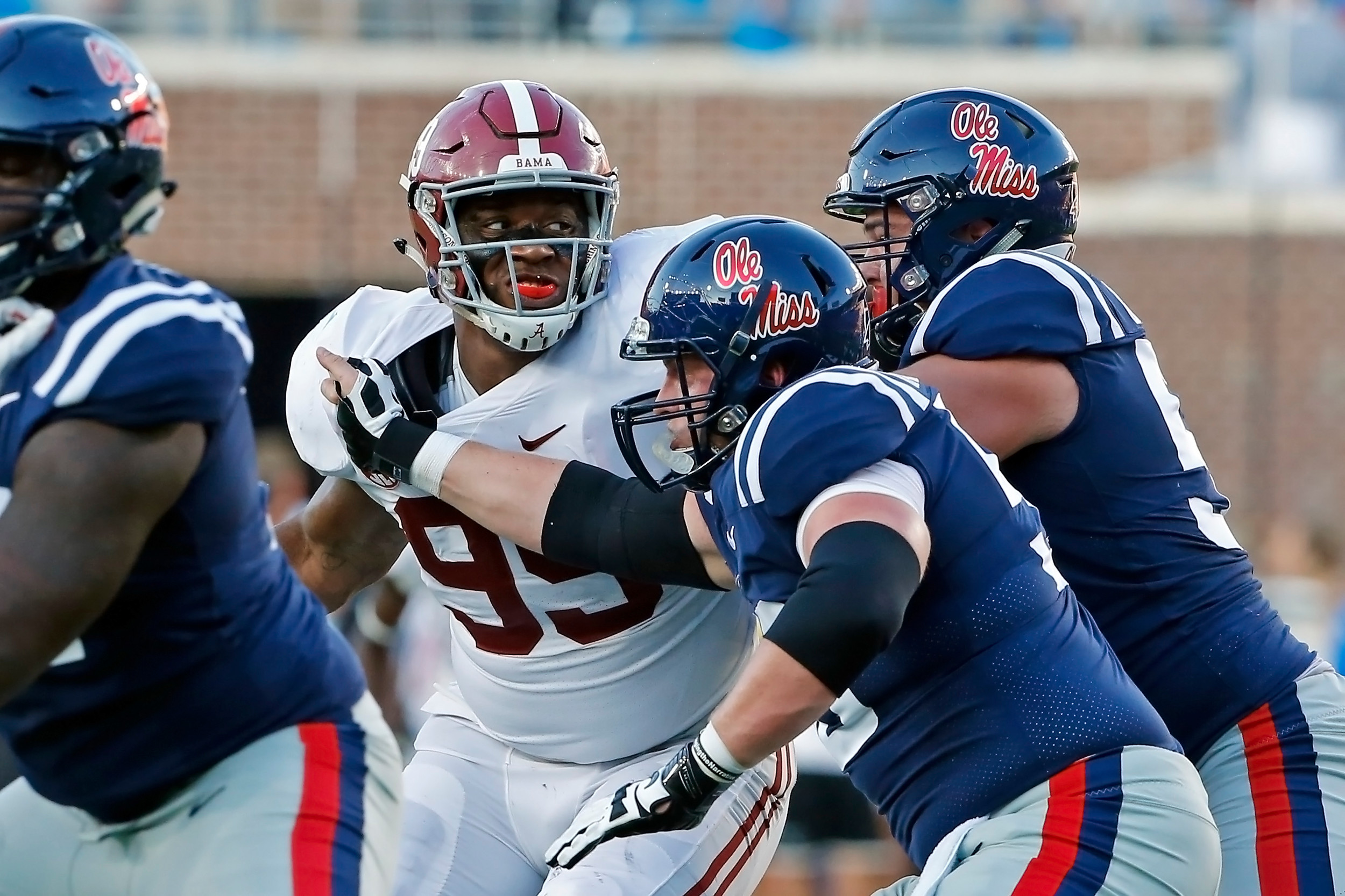 Alabama Crimson Tide defensive lineman Raekwon Davis (99) works against a double team during the game between the University of Alabama and Ole Miss at Vaught-Hemingway Stadium. Jason Clark / Daily Mountain Eagle