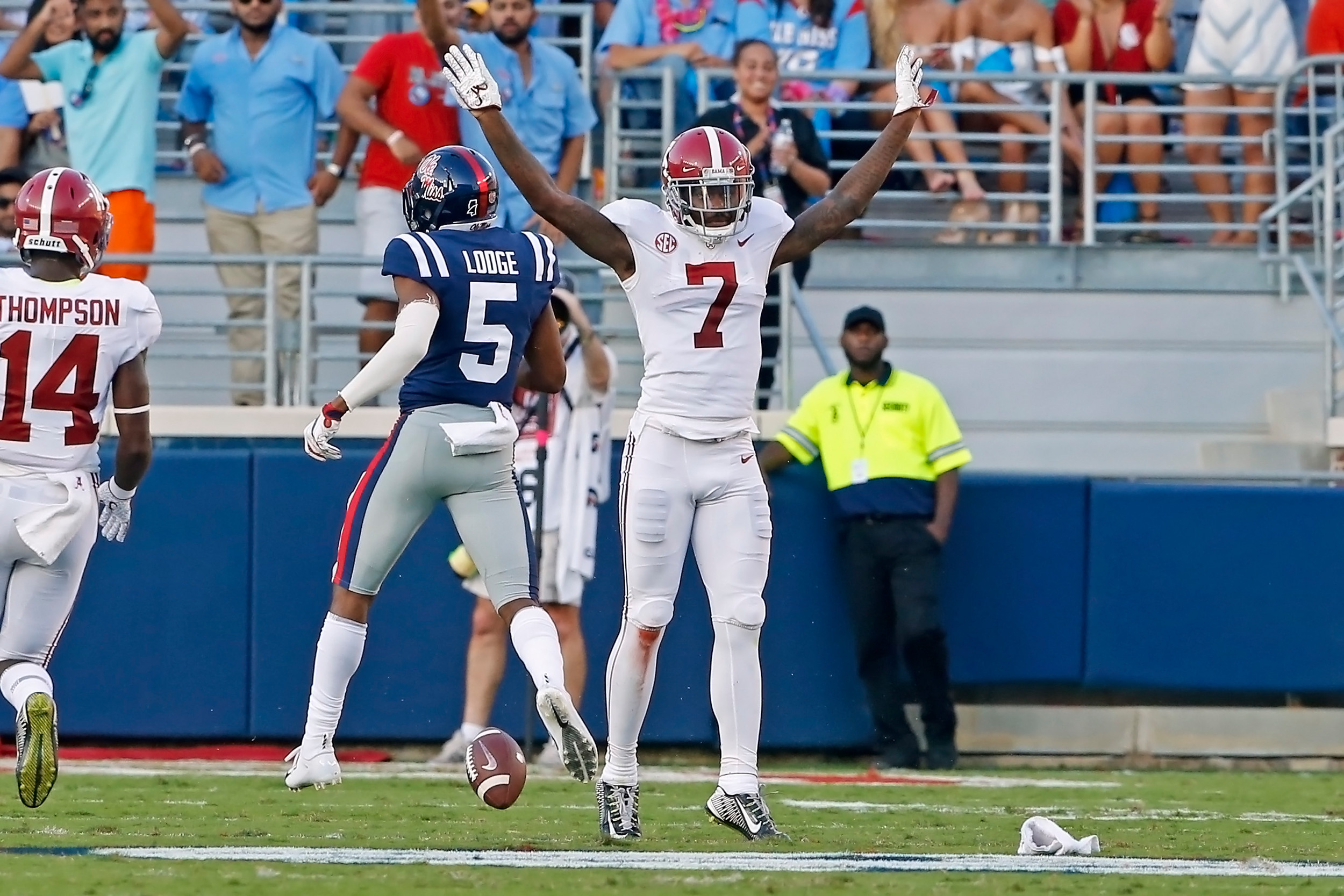 Alabama Crimson Tide defensive back Trevon Diggs (7) gestures after knocking away a pass during the game between the University of Alabama and Ole Miss at Vaught-Hemingway Stadium. Jason Clark / Daily Mountain Eagle
