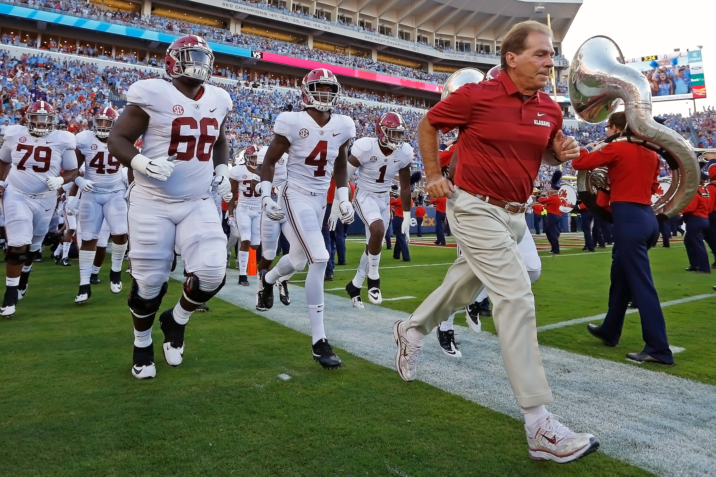 Alabama Crimson Tide head coach Nick Saban leads his team out for the game between the University of Alabama and Ole Miss at Vaught-Hemingway Stadium. Jason Clark / Daily Mountain Eagle