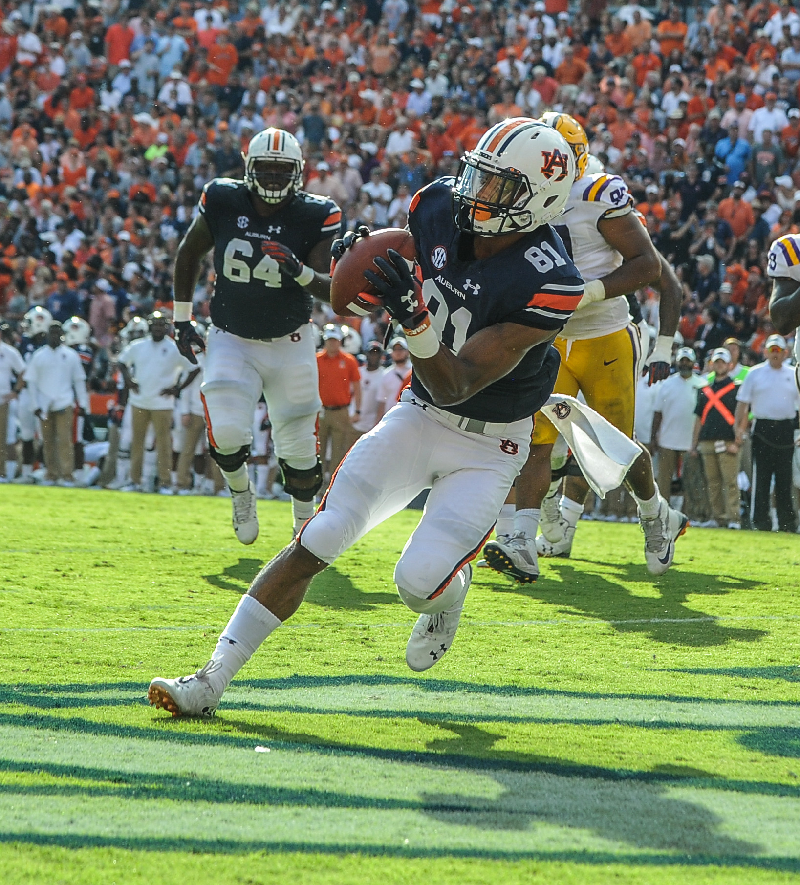 Auburn Tigers wide receiver Darius Slayton (81) catches a touchdown pass during the second half of Saturday's game, at Jordan Hare Stadium in Auburn. (Contributed by Jeff Johnsey)