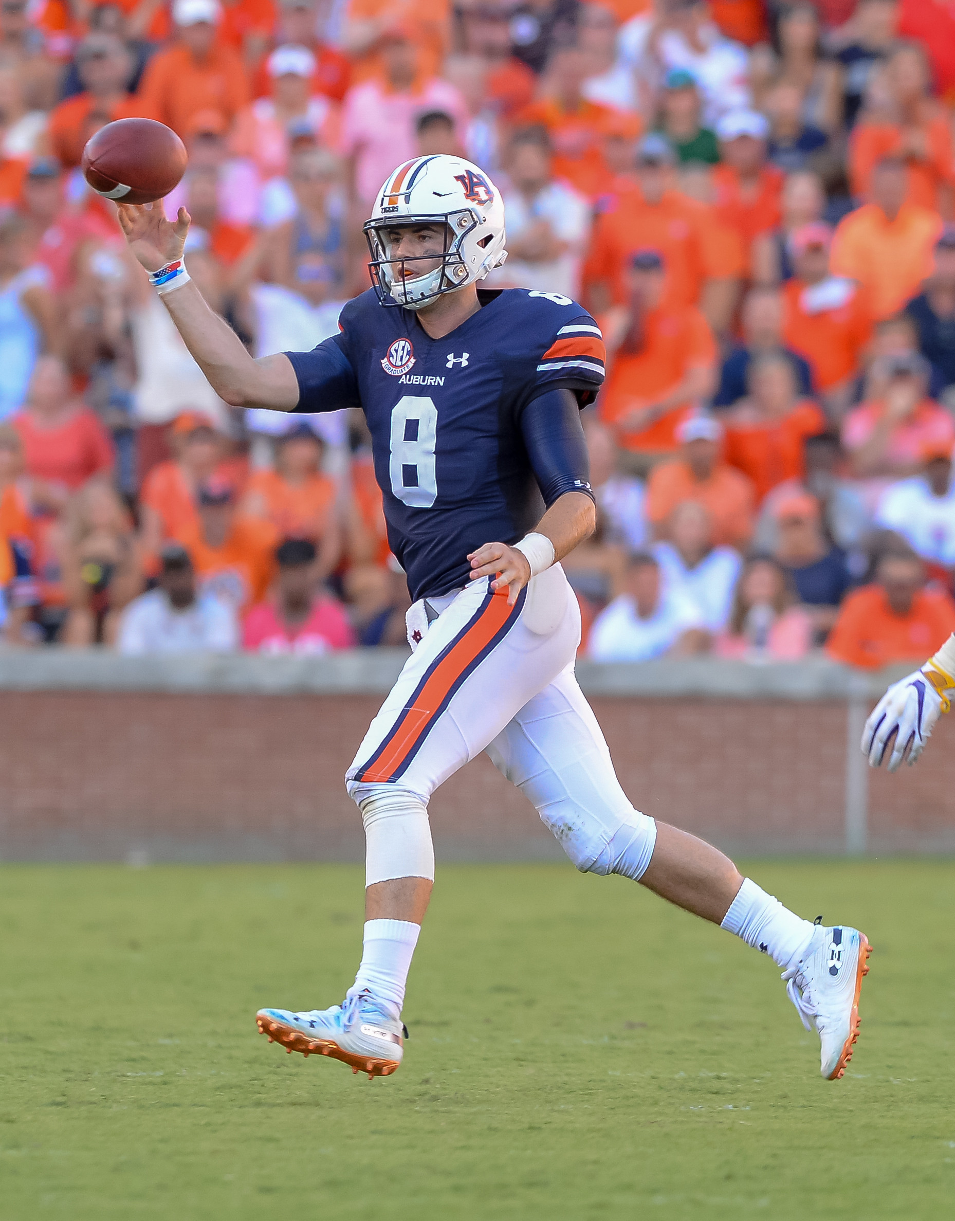Auburn Tigers quarterback Jarrett Stidham (8) throws during the second half of Saturday's game, at Jordan Hare Stadium in Auburn. (Contributed by Jeff Johnsey)