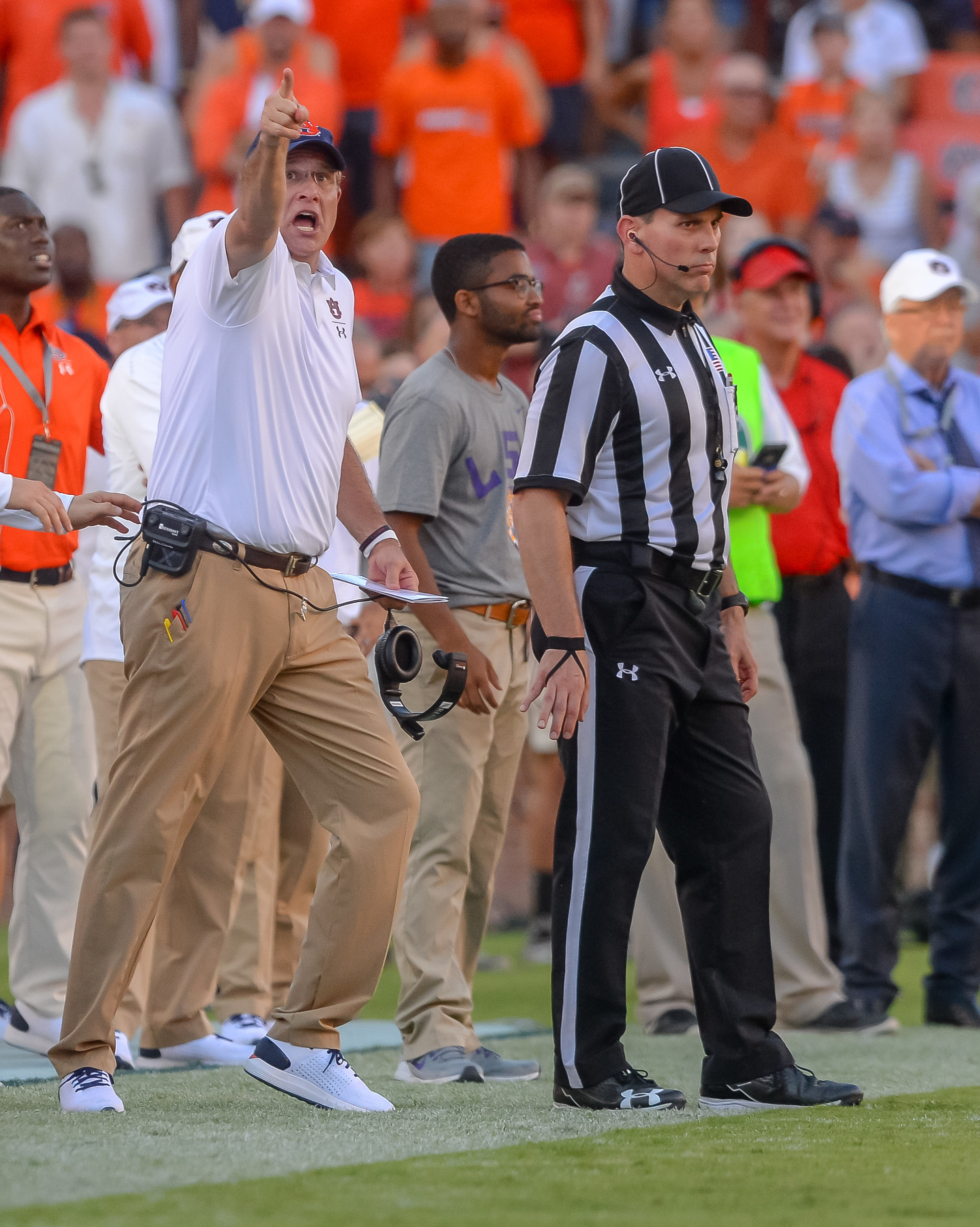 Auburn Tigers head coach Guz Malzahn reacts to a video replay during the second half of Saturday's game, at Jordan Hare Stadium in Auburn Atlanta. (Contributed by Jeff Johnsey)