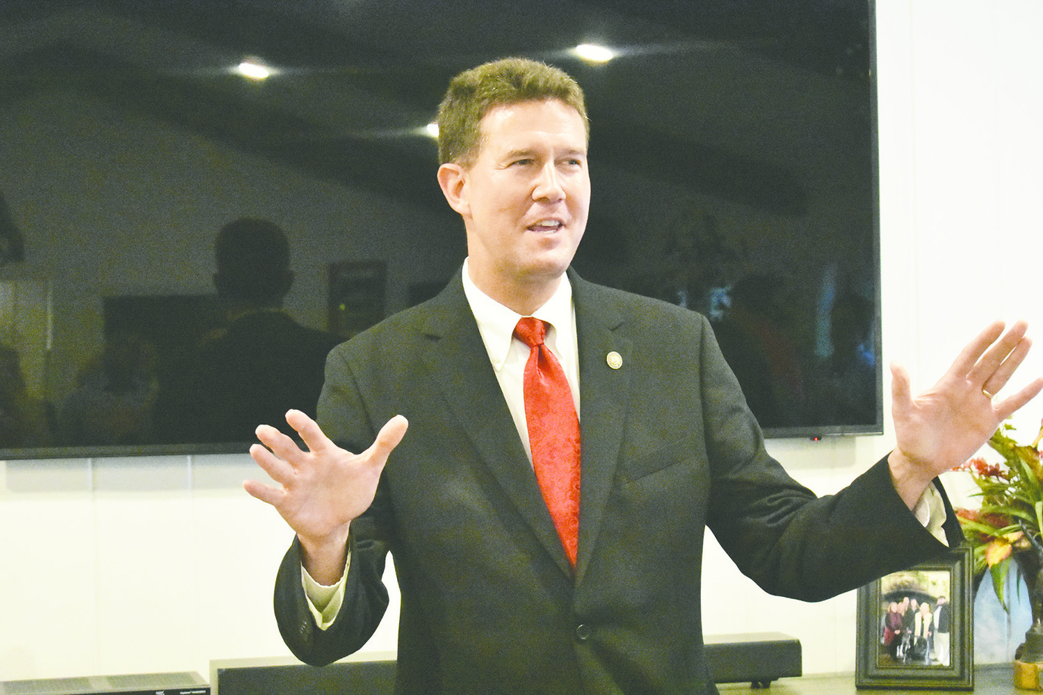 Secretary of State John Merrill speaks at a Jasper residence which hosted a campaign meet-and-greet for Merrill on Monday night.