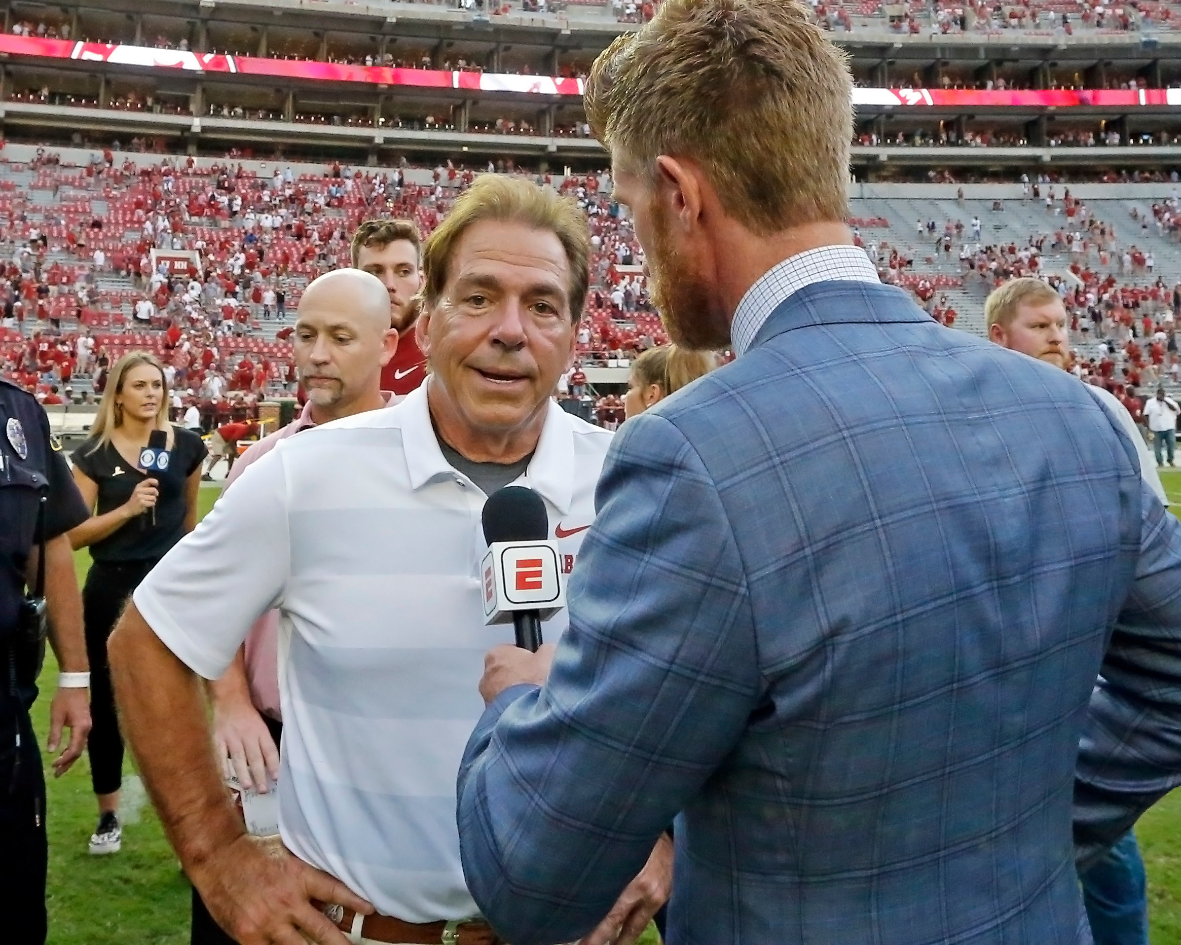 Alabama Crimson Tide head coach Nick Saban after the game with against the Texas A&M Aggies at Bryant-Denny Stadium.  Jason Clark / Daily Mountain Eagle