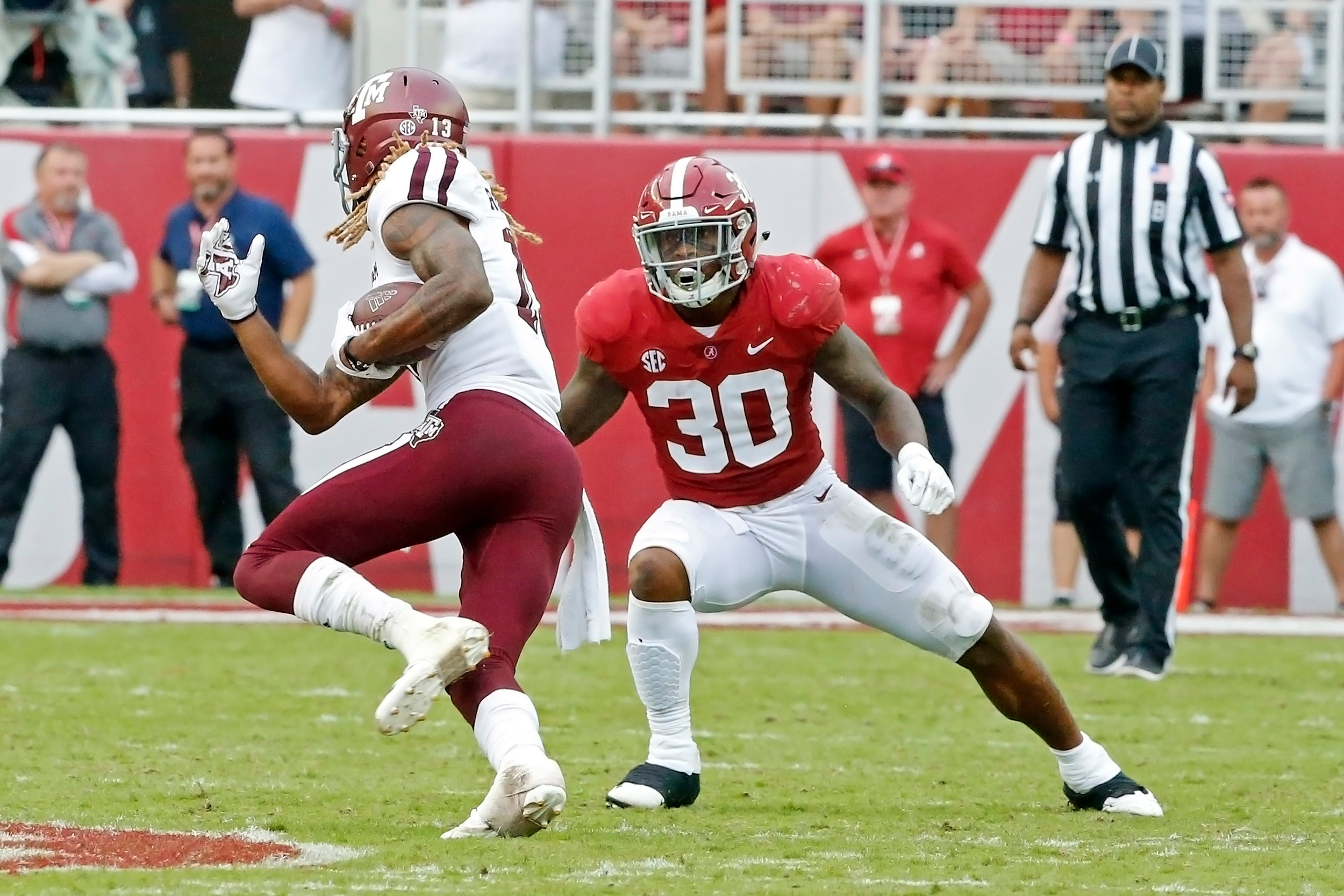 Alabama Crimson Tide linebacker Mack Wilson (30) prepares to make tackle during the game with against the Texas A&M Aggies at Bryant-Denny Stadium.  Jason Clark / Daily Mountain Eagle