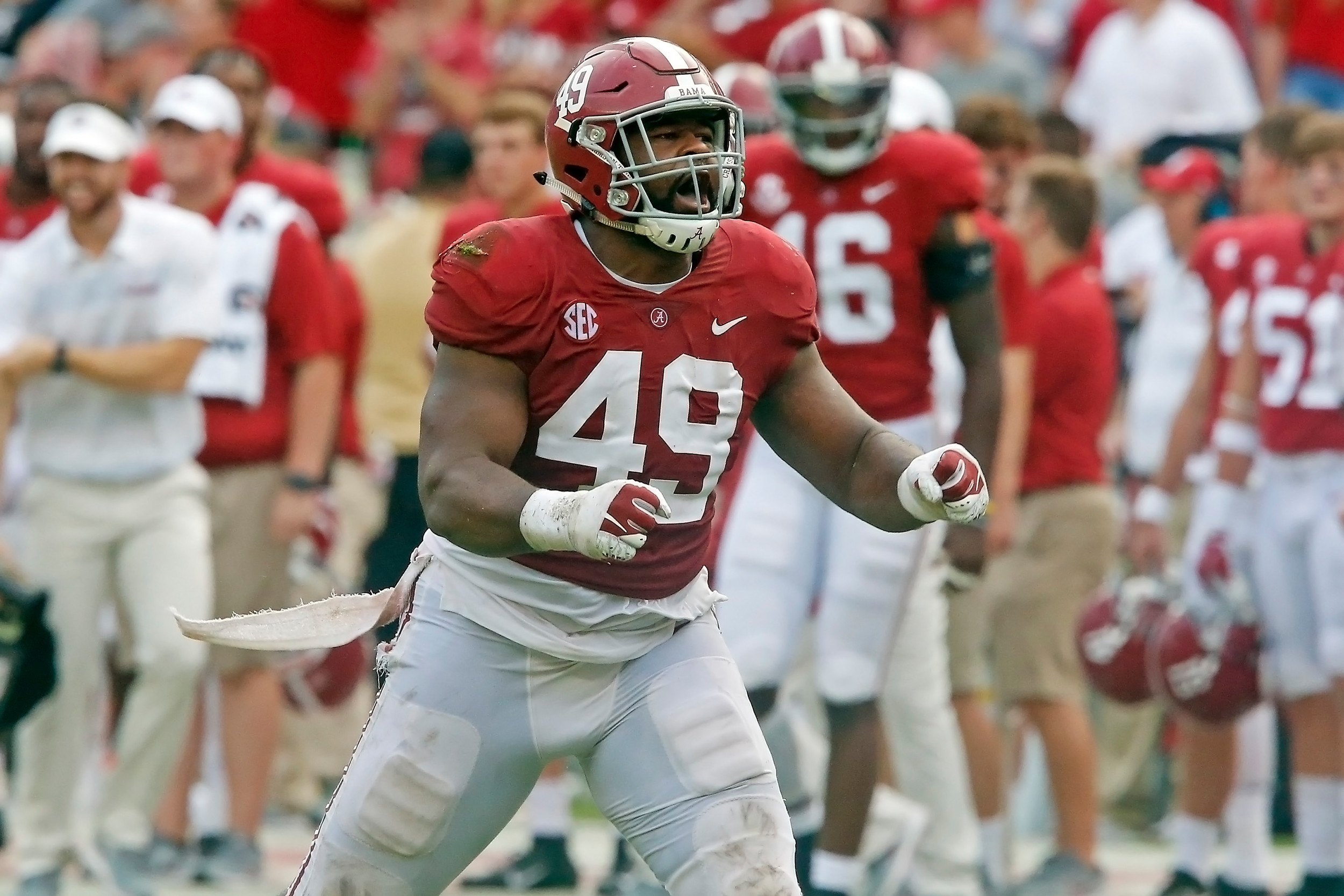 Alabama Crimson Tide defensive lineman Isaiah Buggs (49) celebrates after a sack during the game with against the Texas A&M Aggies at Bryant-Denny Stadium.  Jason Clark / Daily Mountain Eagle