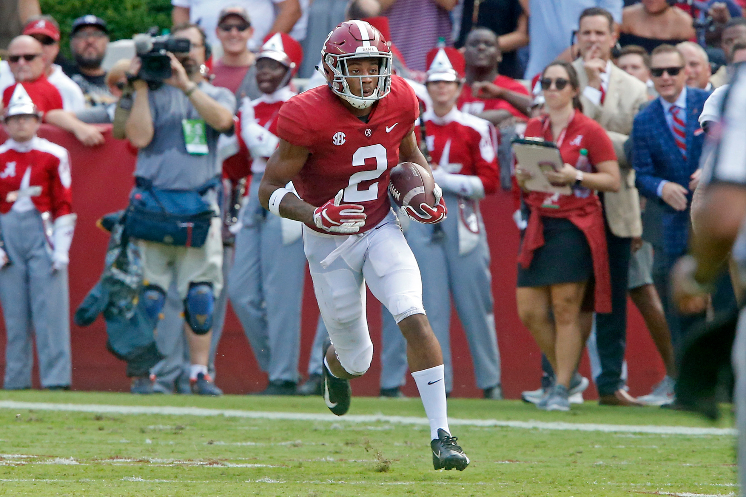 Alabama Crimson Tide defensive back Patrick Surtain II (2) returns an interception during the game between the Texas A&M Aggies and the University of Alabama Crimson Tide at Bryant-Denny Stadium.  Jason Clark / Daily Mountain Eagle