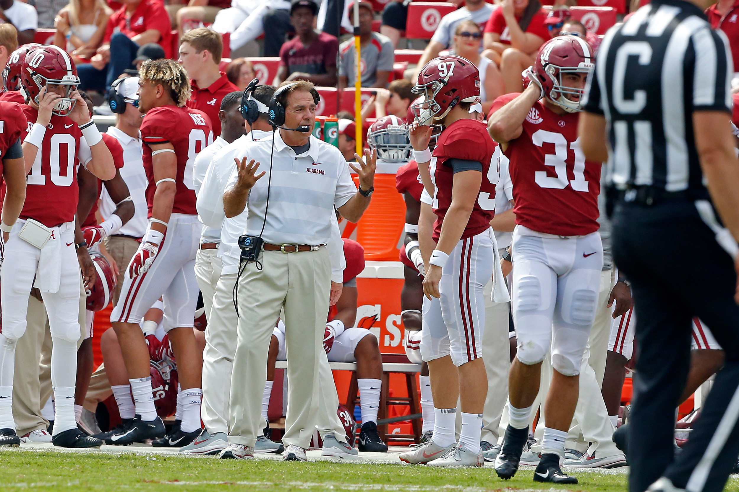 After Alabama Crimson Tide place kicker Joseph Bulovas (97) missed a PAT by hitting the right upright head coach Nick Saban has a talk with him at Bryant-Denny Stadium in Tuscaloosa, Al on September 29, 2018. Jason Clark / Daily Mountain Eagle