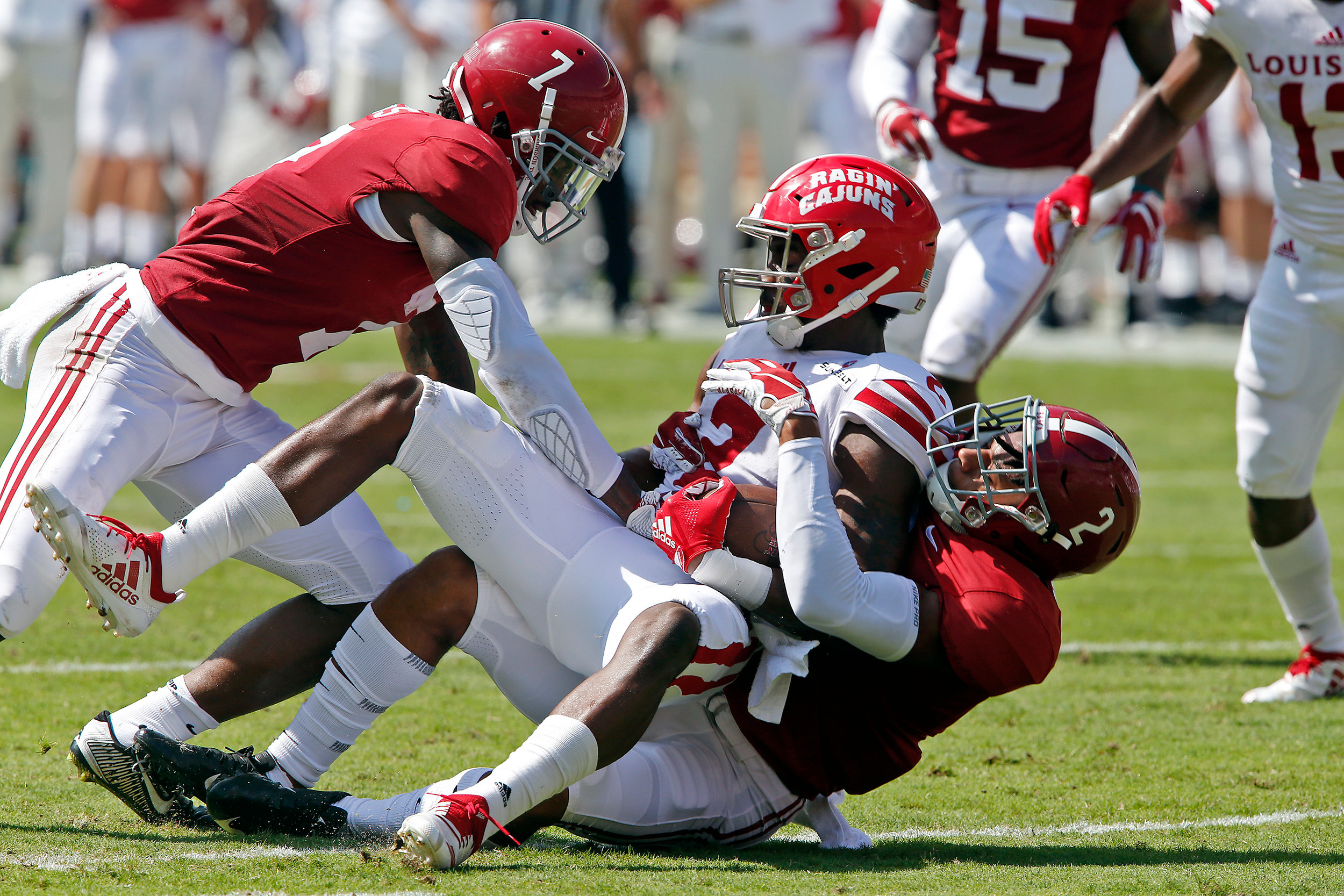 Alabama Crimson Tide defensive back Patrick Surtain II (2) makes a tackle while Trevon Diggs (7) assists at Bryant-Denny Stadium in Tuscaloosa, Al on September 29, 2018. Jason Clark / Daily Mountain Eagle