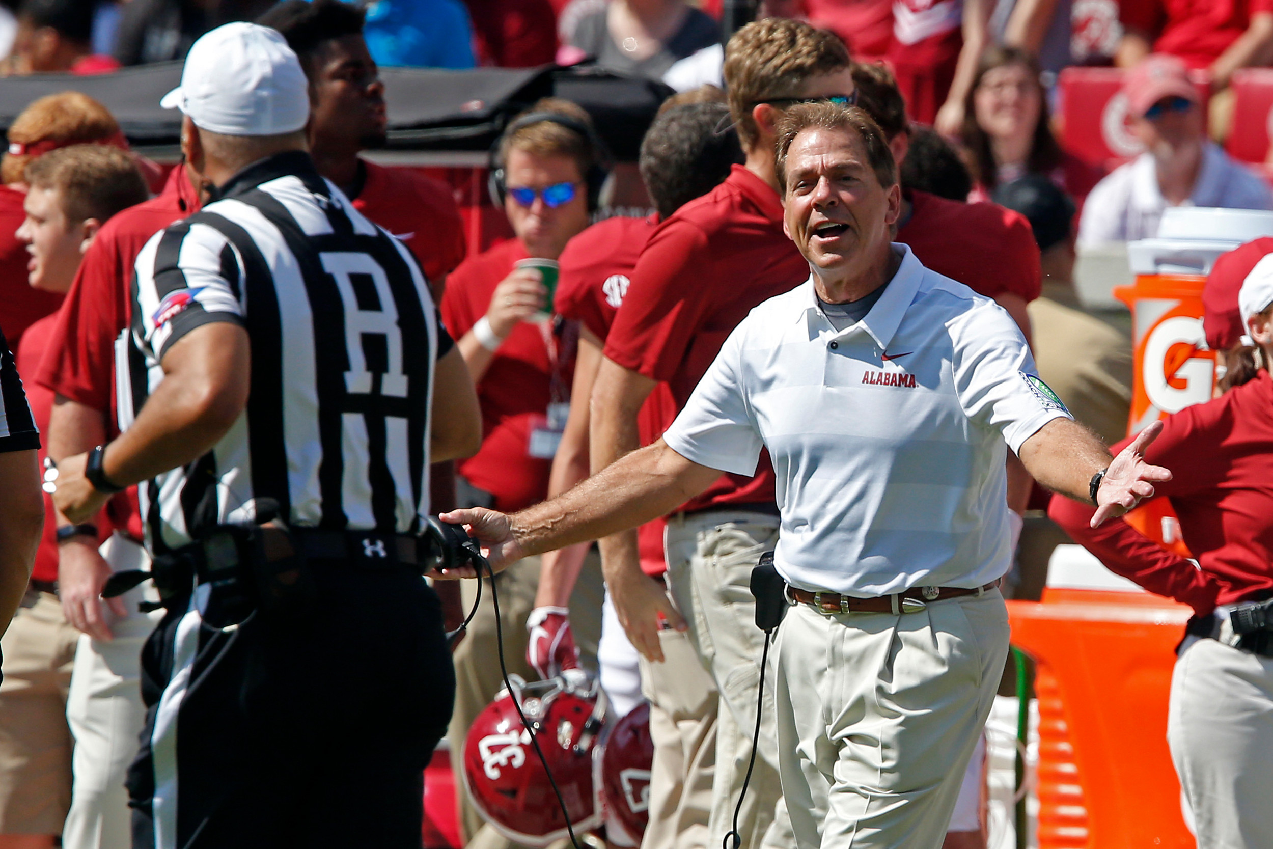 During the review of a targeting call on Alabama, Nick Saban had some remarks for the official, at Bryant-Denny Stadium in Tuscaloosa, Al on September 29, 2018. Jason Clark / Daily Mountain Eagle