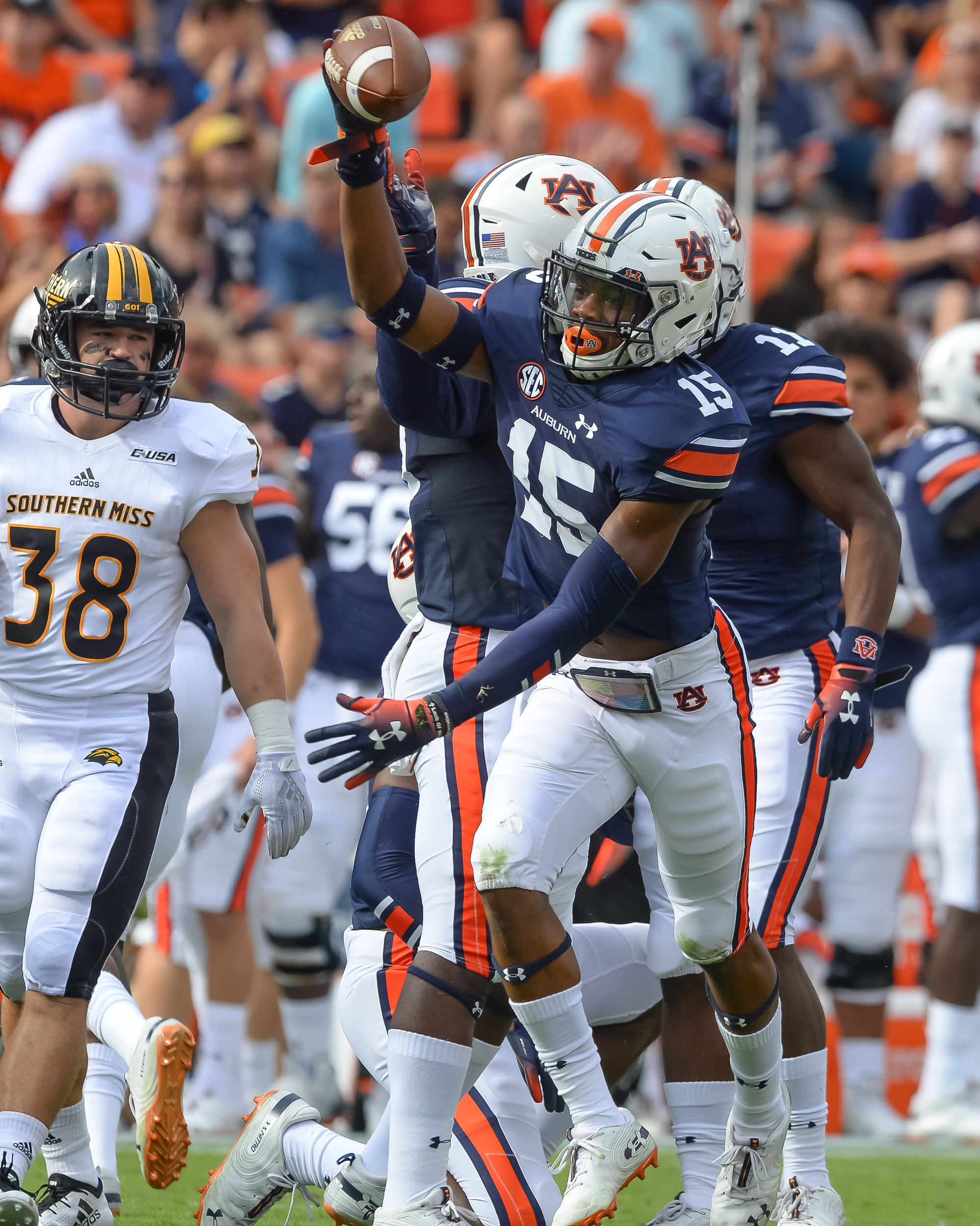 Auburn Tigers defensive back Jordyn Peters (15) celebrates a fumble recovery during the first half of Saturday's game, at Jordan Hare Stadium in Auburn AL. Daily Mountain Eagle -  Jeff Johnsey