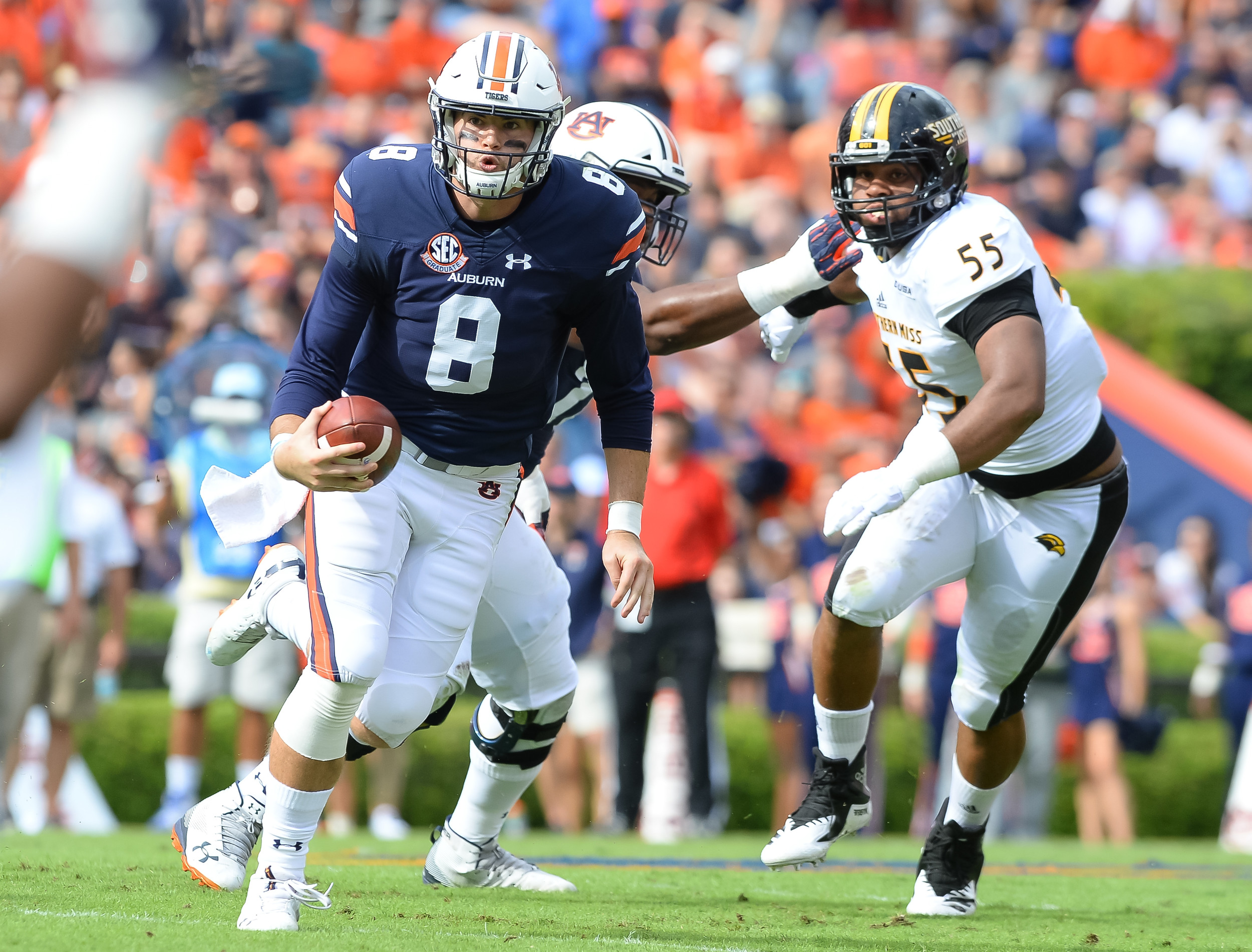 Auburn Tigers quarterback Jarrett Stidham (8) runs during the first half of Saturday's game, at Jordan Hare Stadium in Auburn AL. Daily Mountain Eagle -  Jeff Johnsey