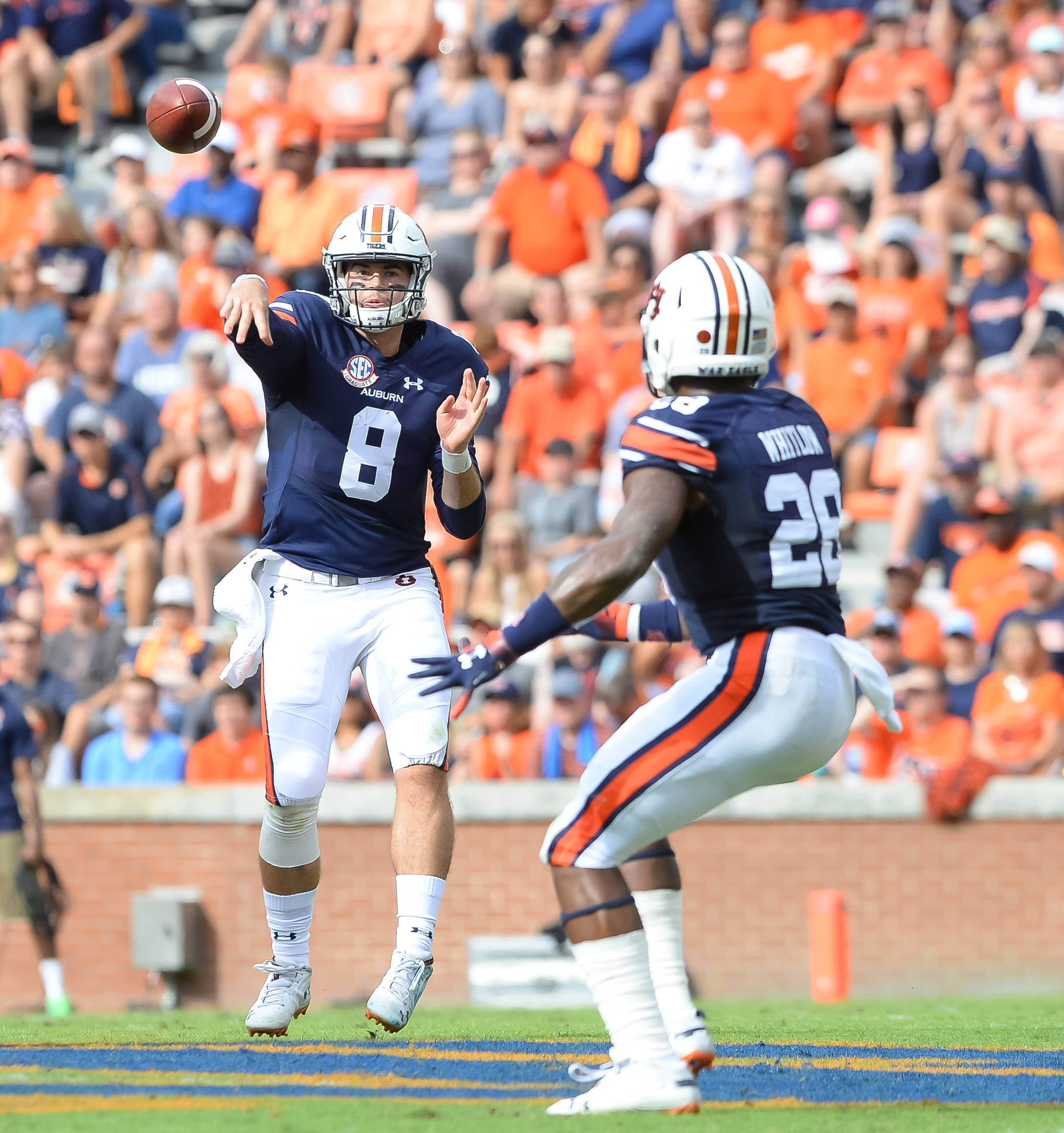 Auburn Tigers quarterback Jarrett Stidham (8) throws during the first half of Saturday's game, at Jordan Hare Stadium in Auburn AL. Daily Mountain Eagle -  Jeff Johnsey